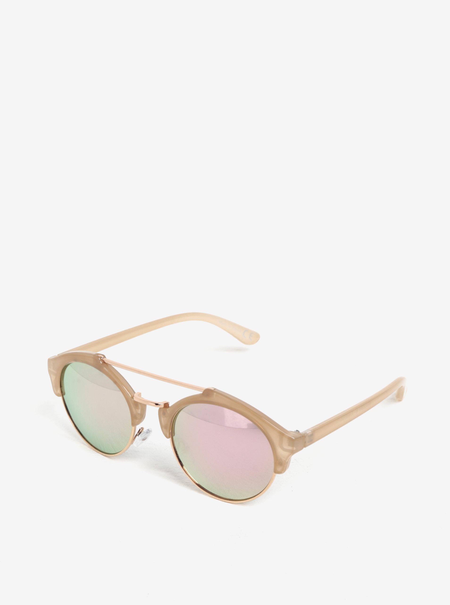Světle růžové sluneční brýle s detaily v růžovozlaté barvě MISSGUIDED