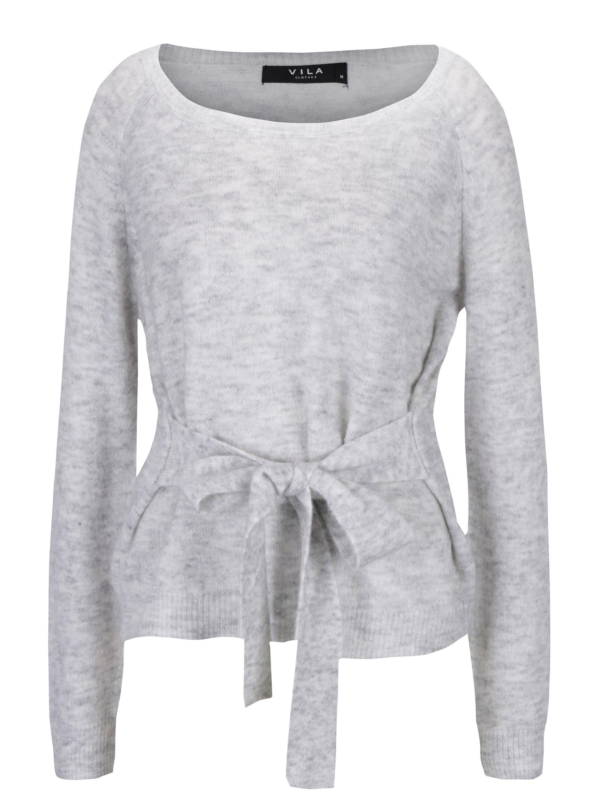 Sivý melírovaný sveter s mašľou a prímesou mohéru VILA Mirum