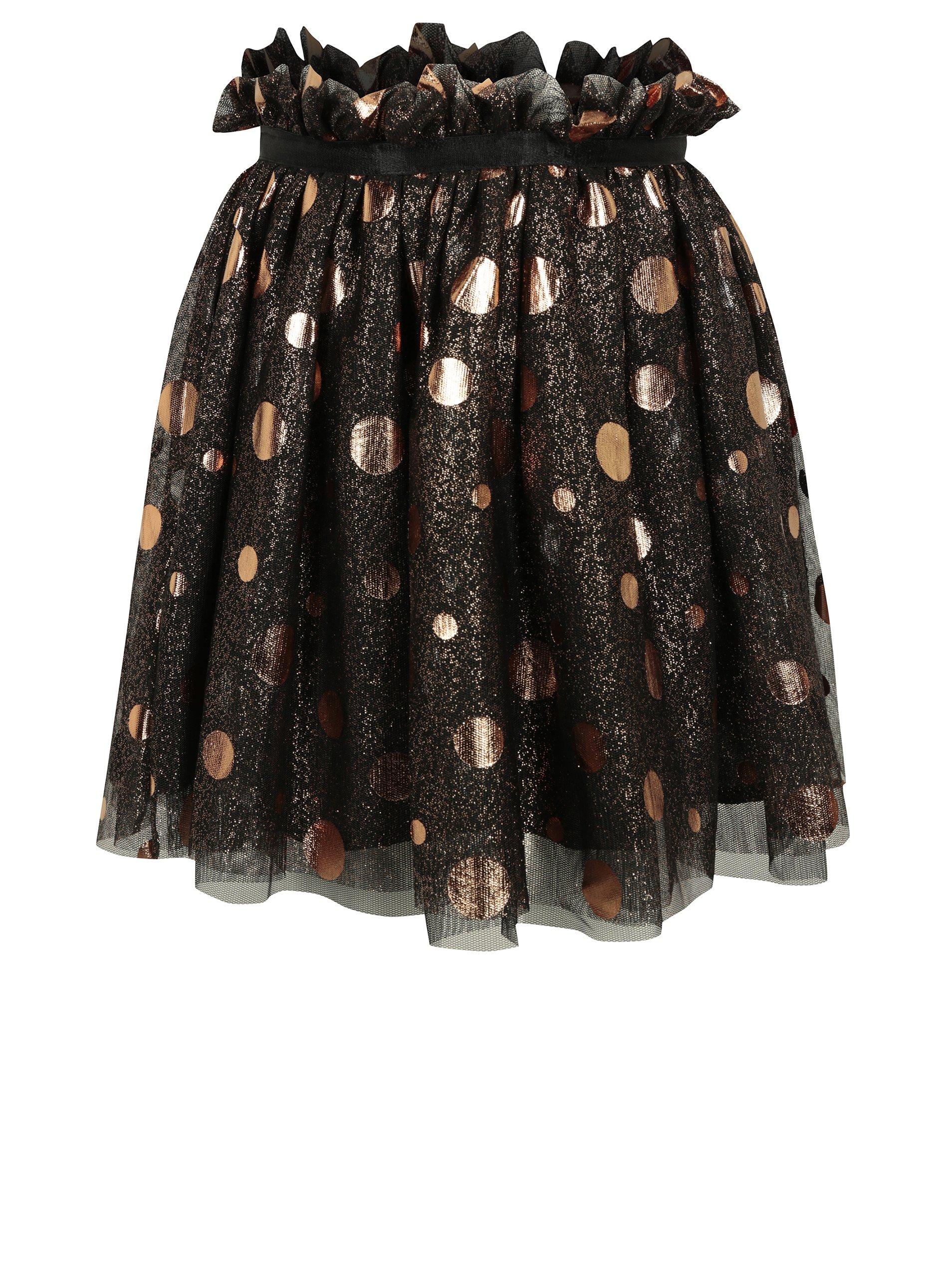 Černá holčičí tylová třpytivá puntíkovaná sukně name it Folly