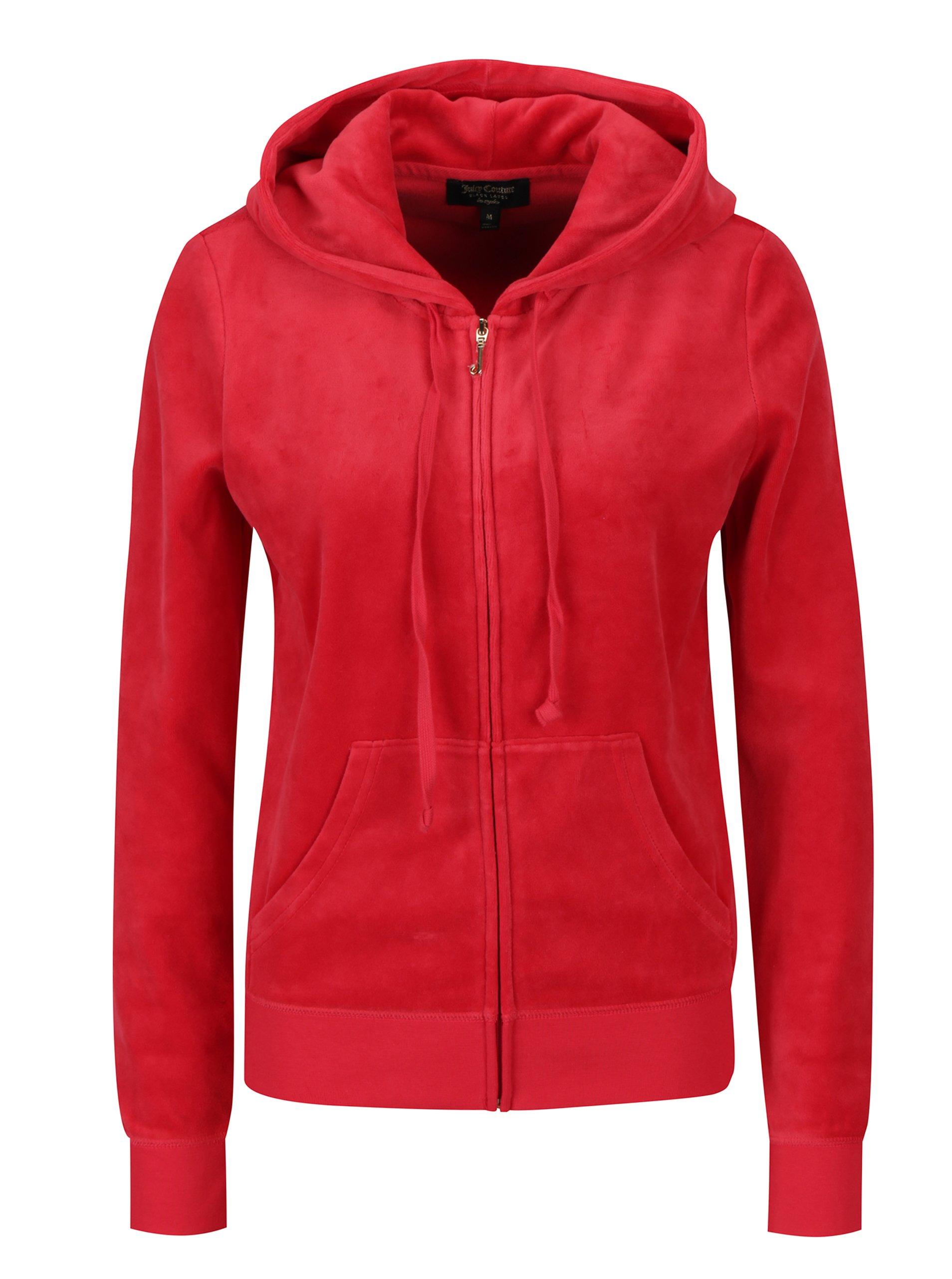 Červená sametová mikina s kapucí Juicy Couture