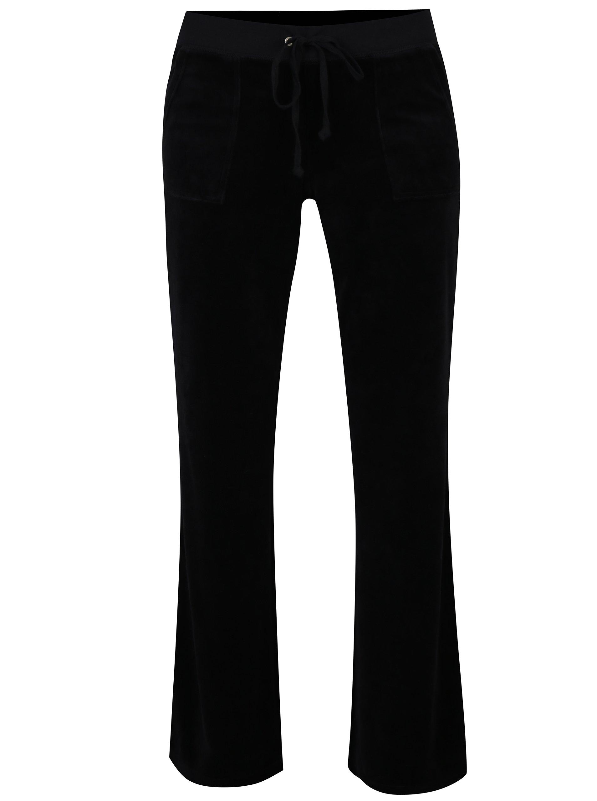Čierne zamatové tepláky Juicy Couture