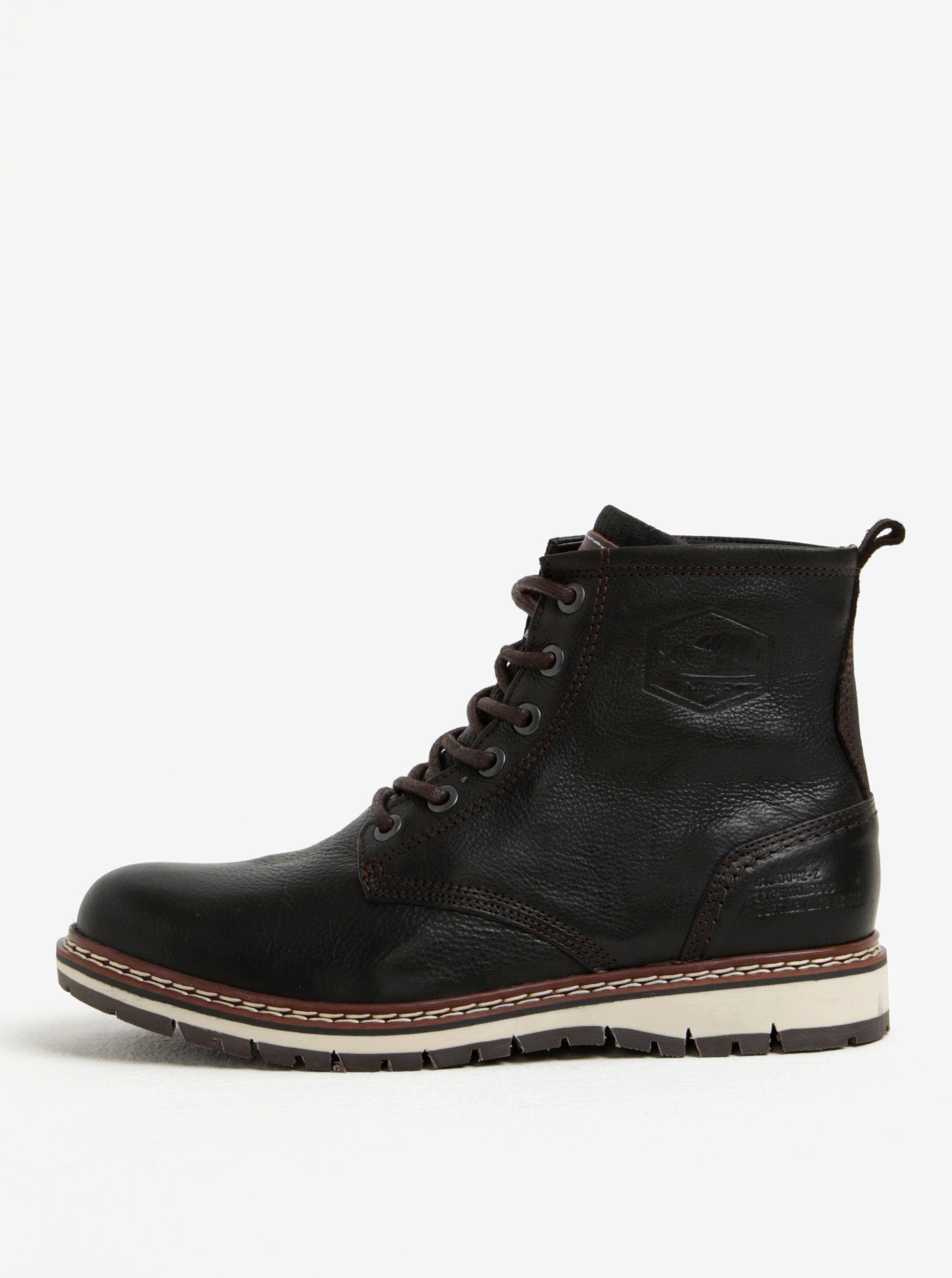 Tmavě hnědé pánské kožené kotníkové zimní boty Bullboxer