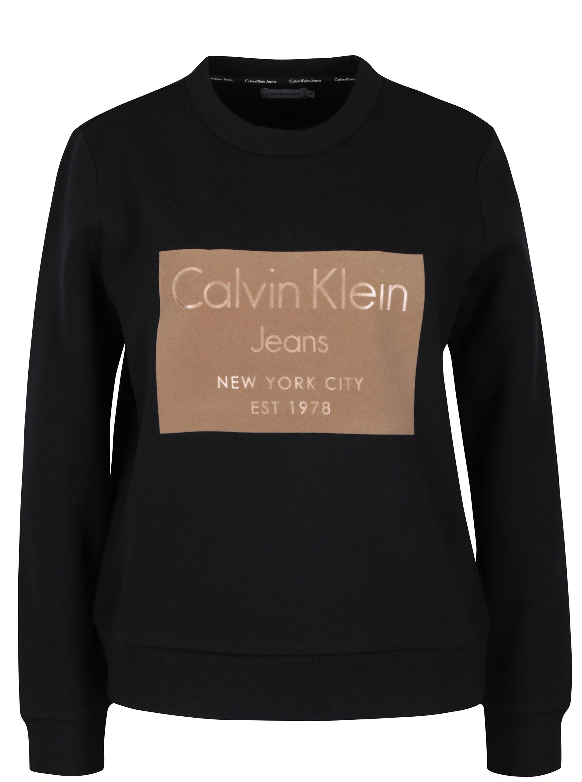 Hnědo-černá dámská mikina Calvin Klein Jeans Hansi