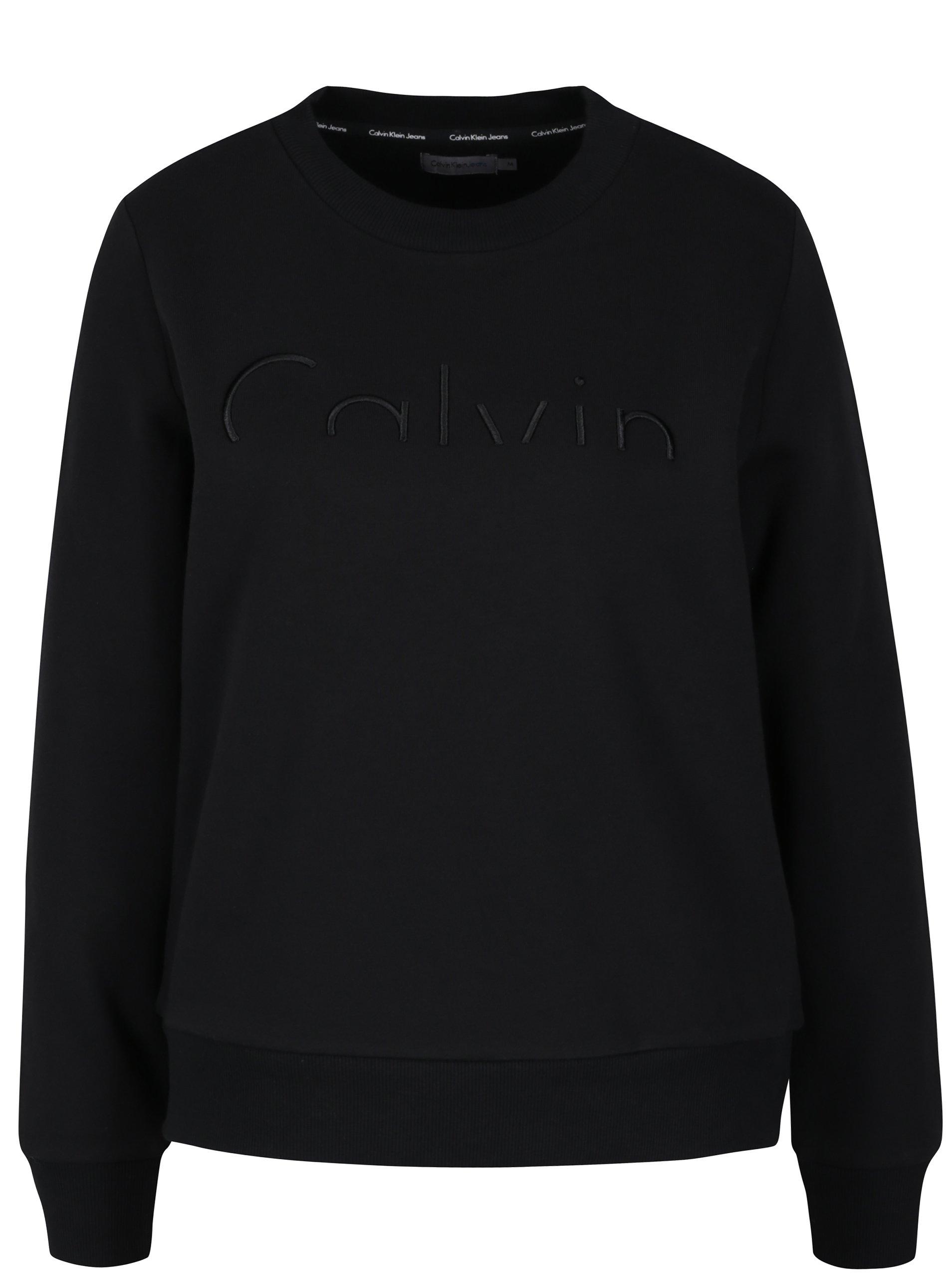 c9a25d5c6a0 Černá dámská mikina s výšivkou Calvin Klein Jeans Hadar - SLEVA ...