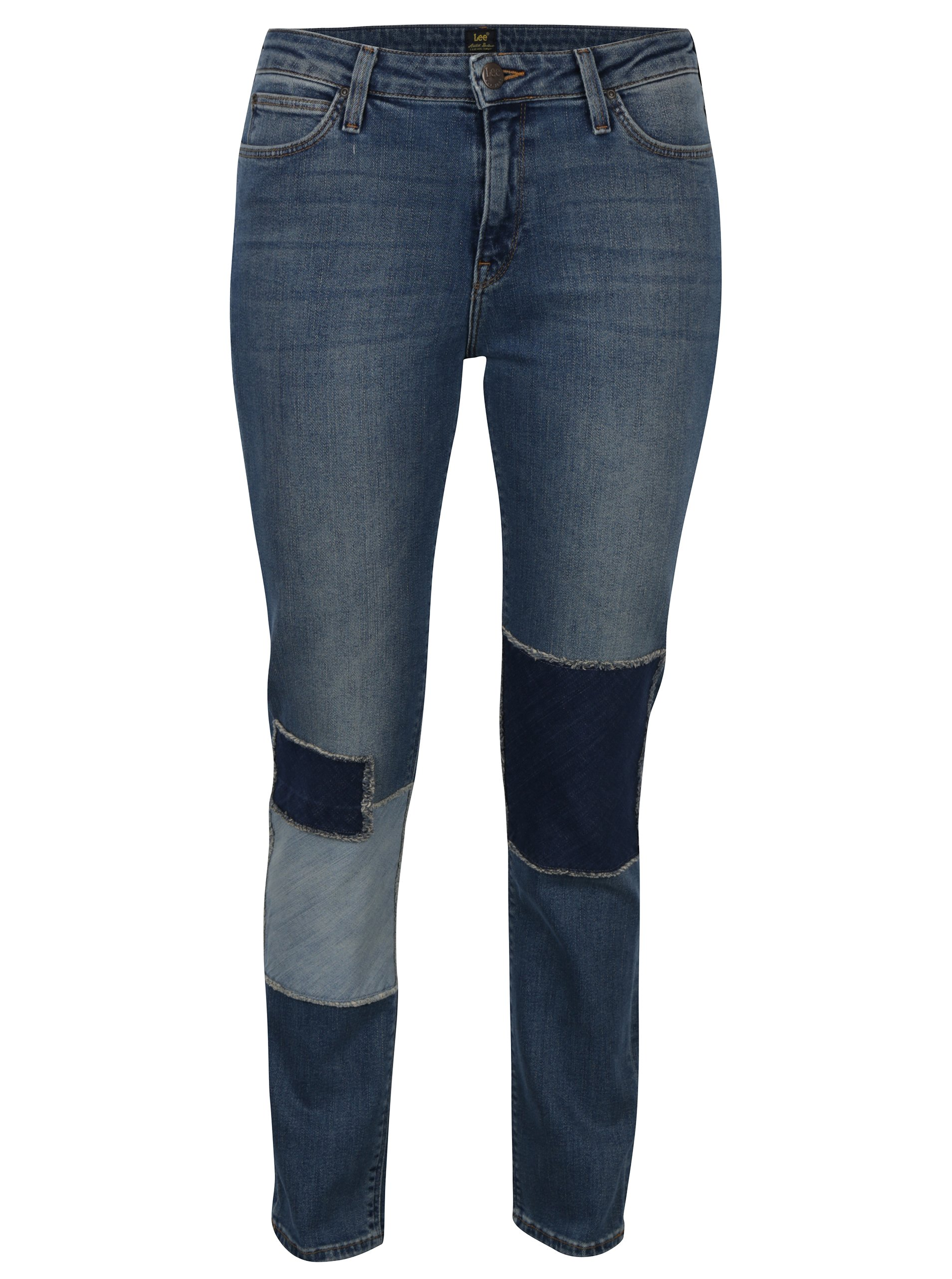 Fotografie Modré dámské straight džíny se záplatami a vyšisovaným efektem Lee Elly