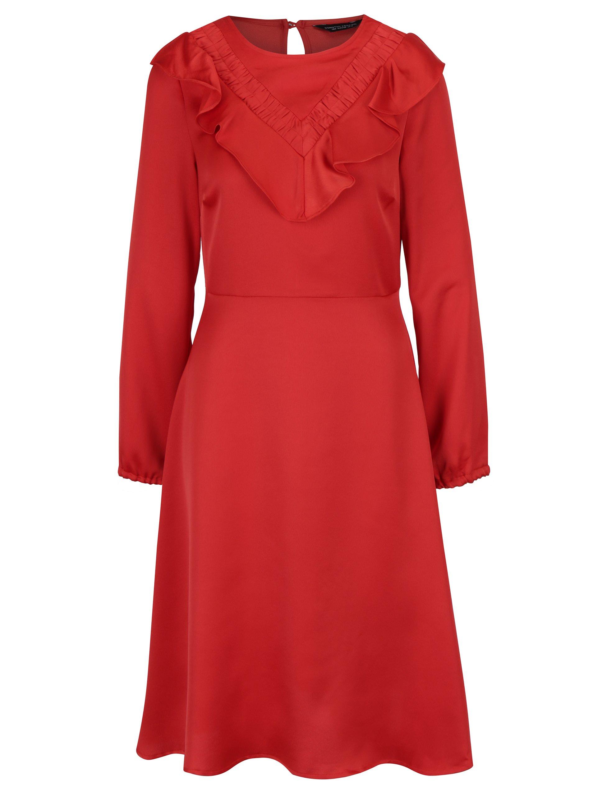 Červené šaty s volánky a dlouhým rukávem Dorothy Perkins 8f90d453170