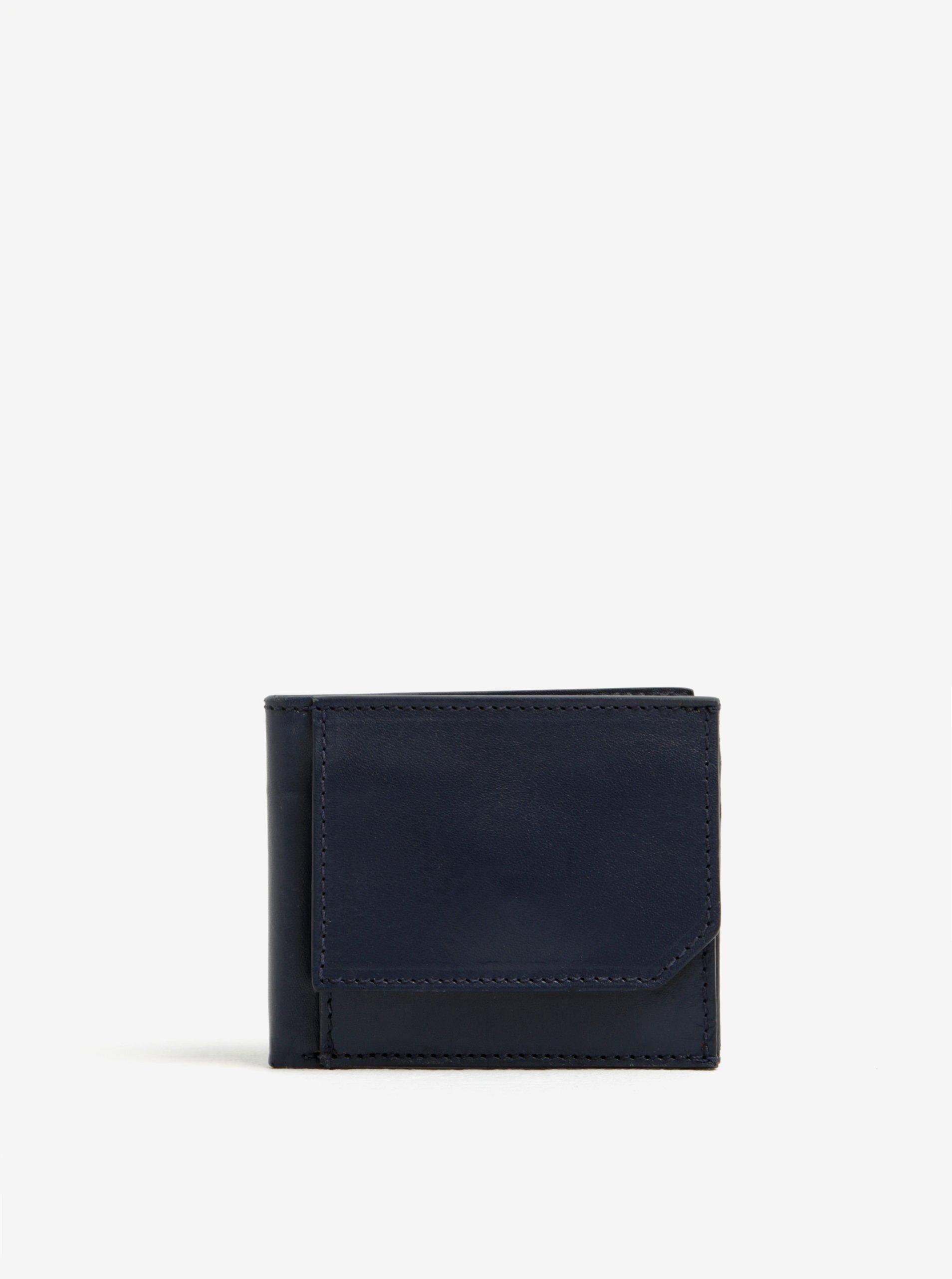 Tmavě modrá kožená pánská peněženka Elega
