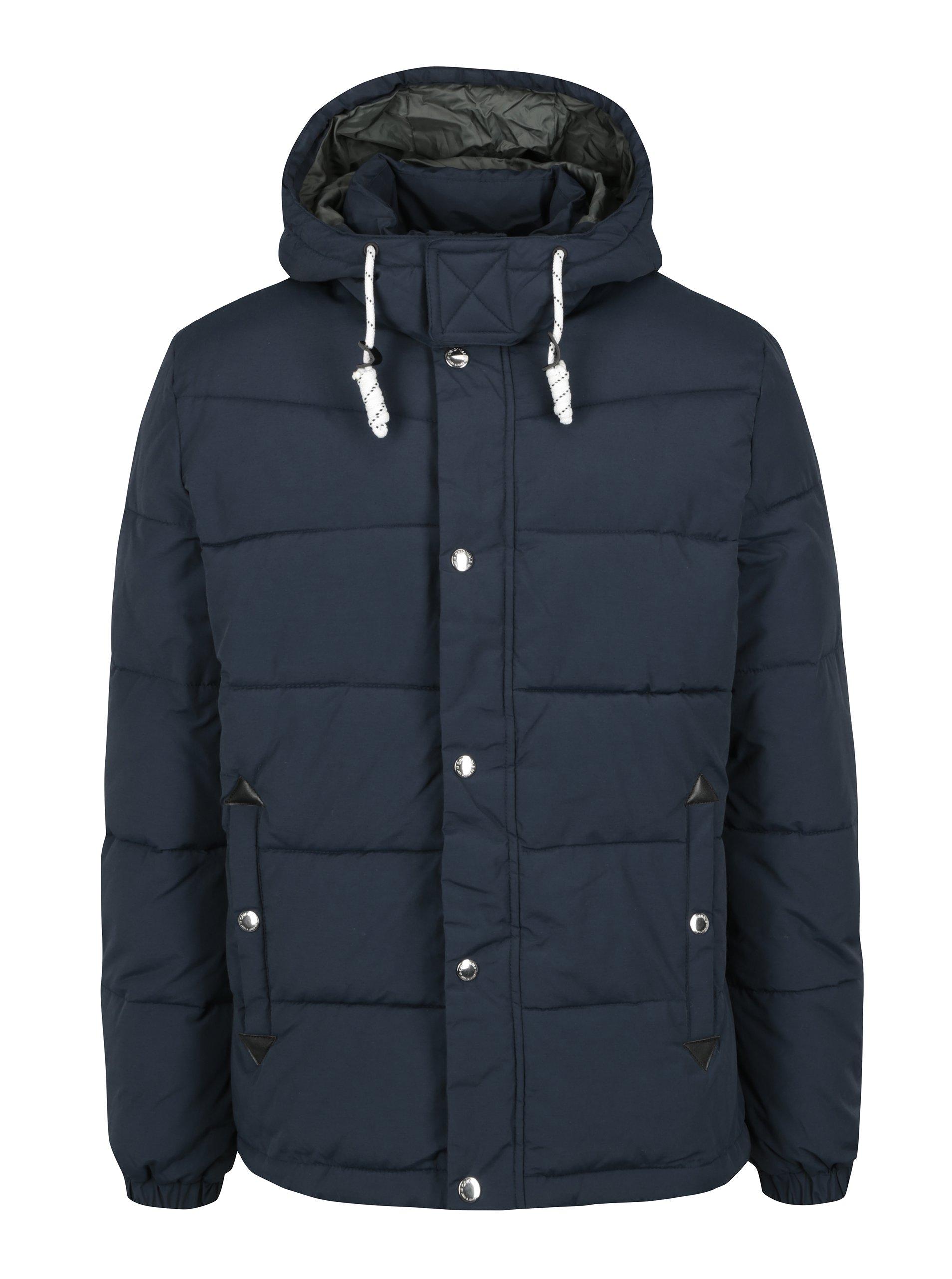 Tmavomodrá zimná prešívaná bunda s kapucňou Jack & Jones Figure
