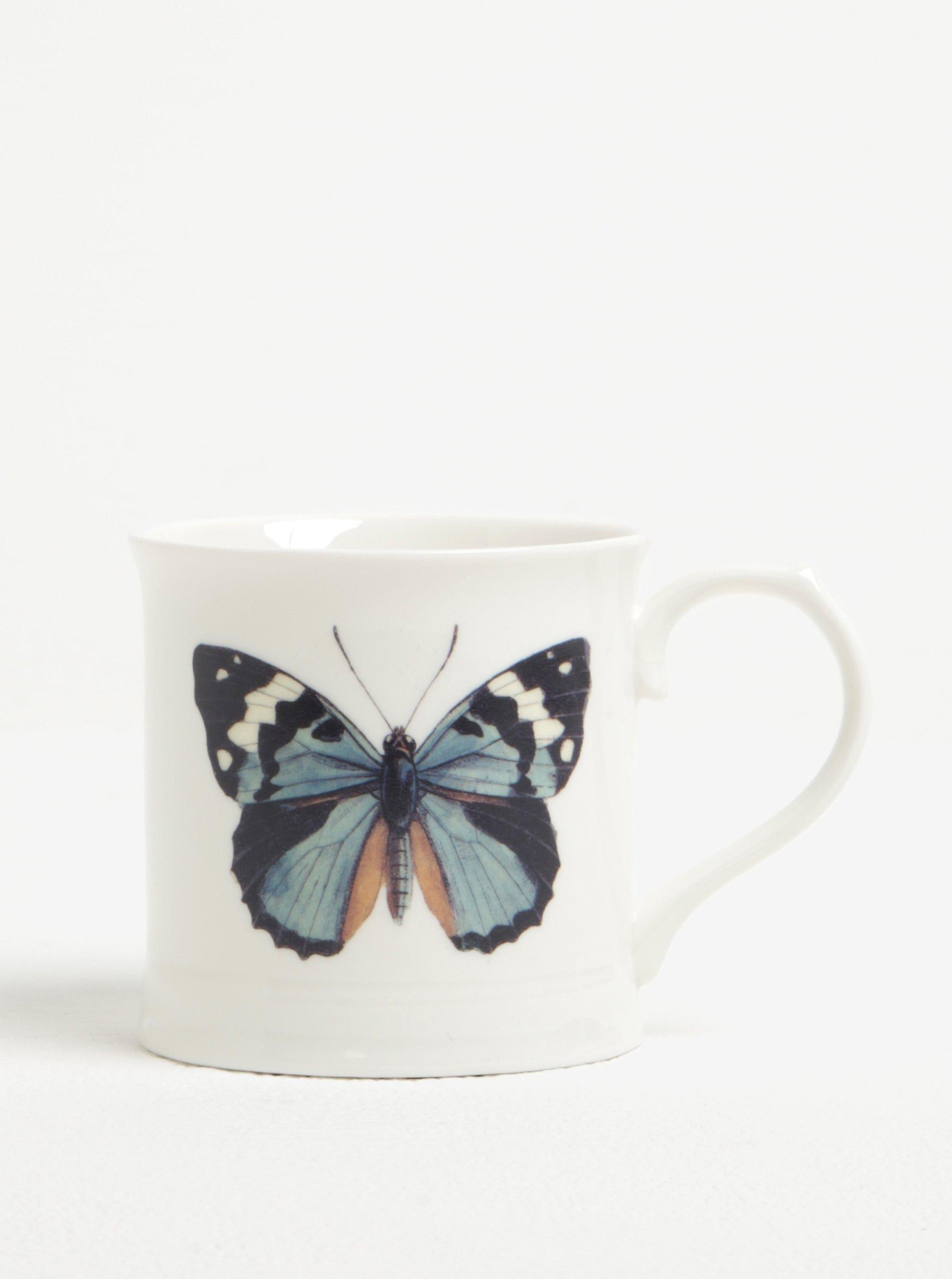 Krémový keramický hrnček s motívom motýľa Magpie Curios