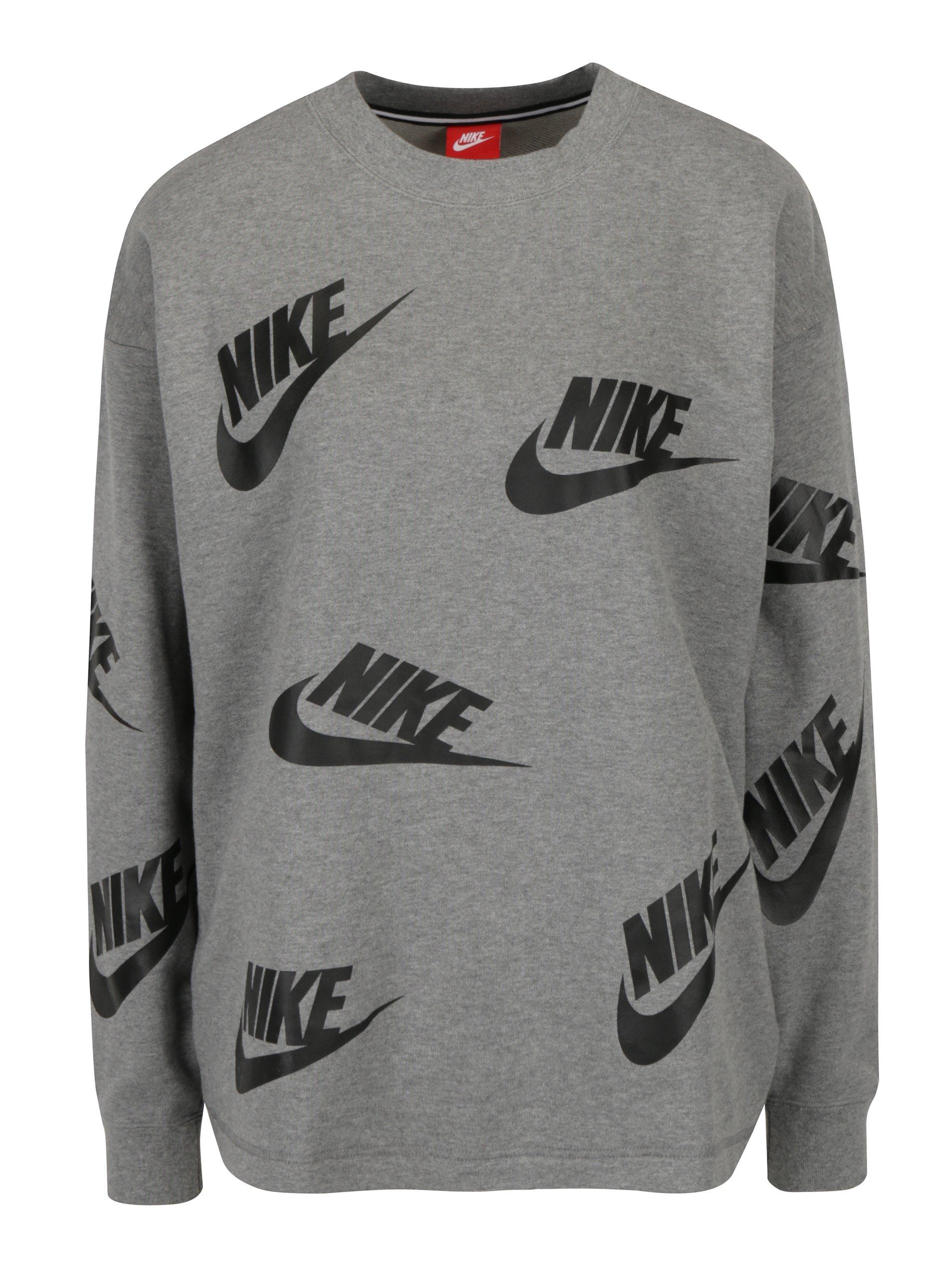 Šedá dámská mikina s potiskem Nike Sportswear