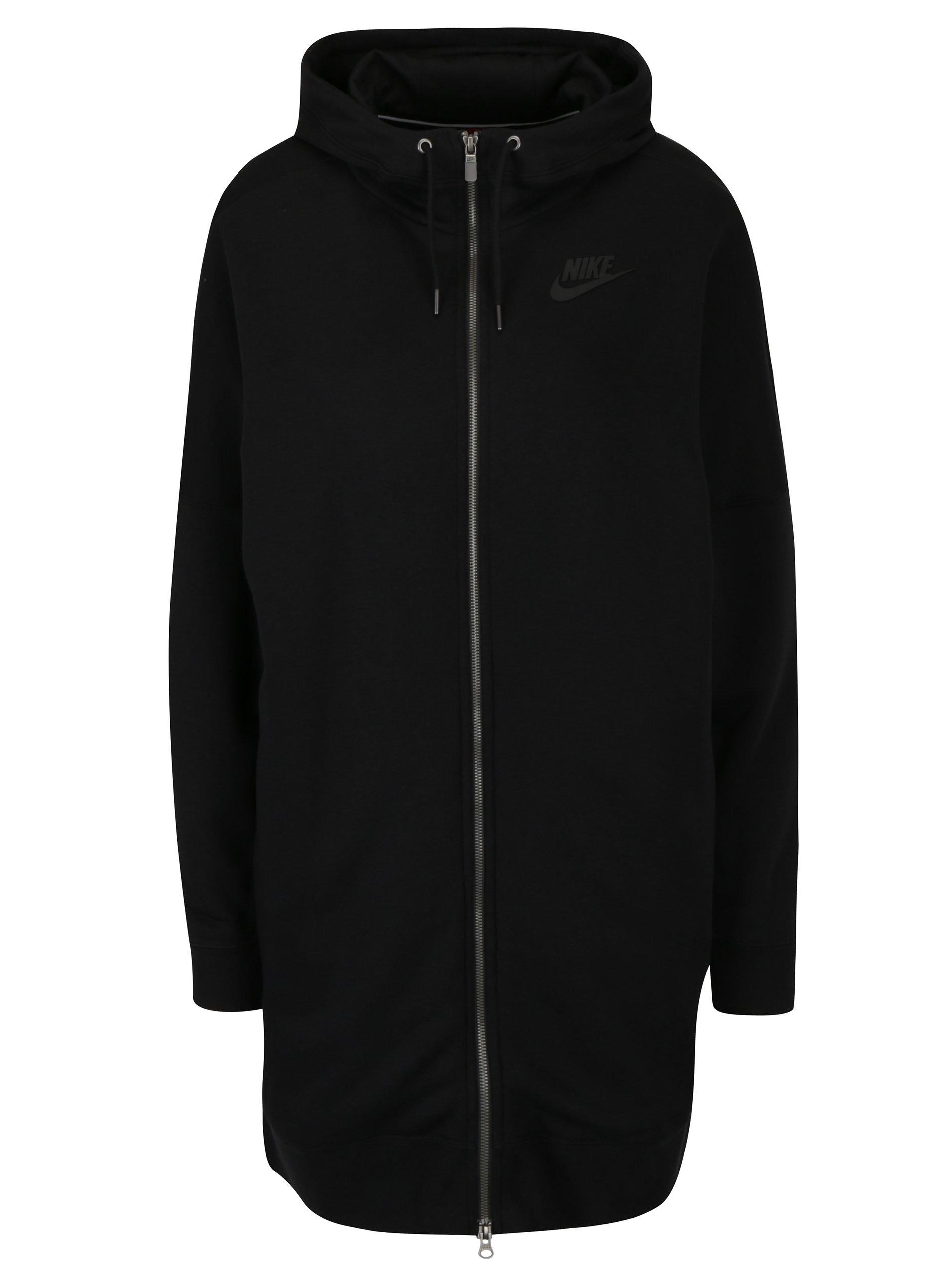Černá dámská dlouhá mikina s kapucí Nike Hoodie