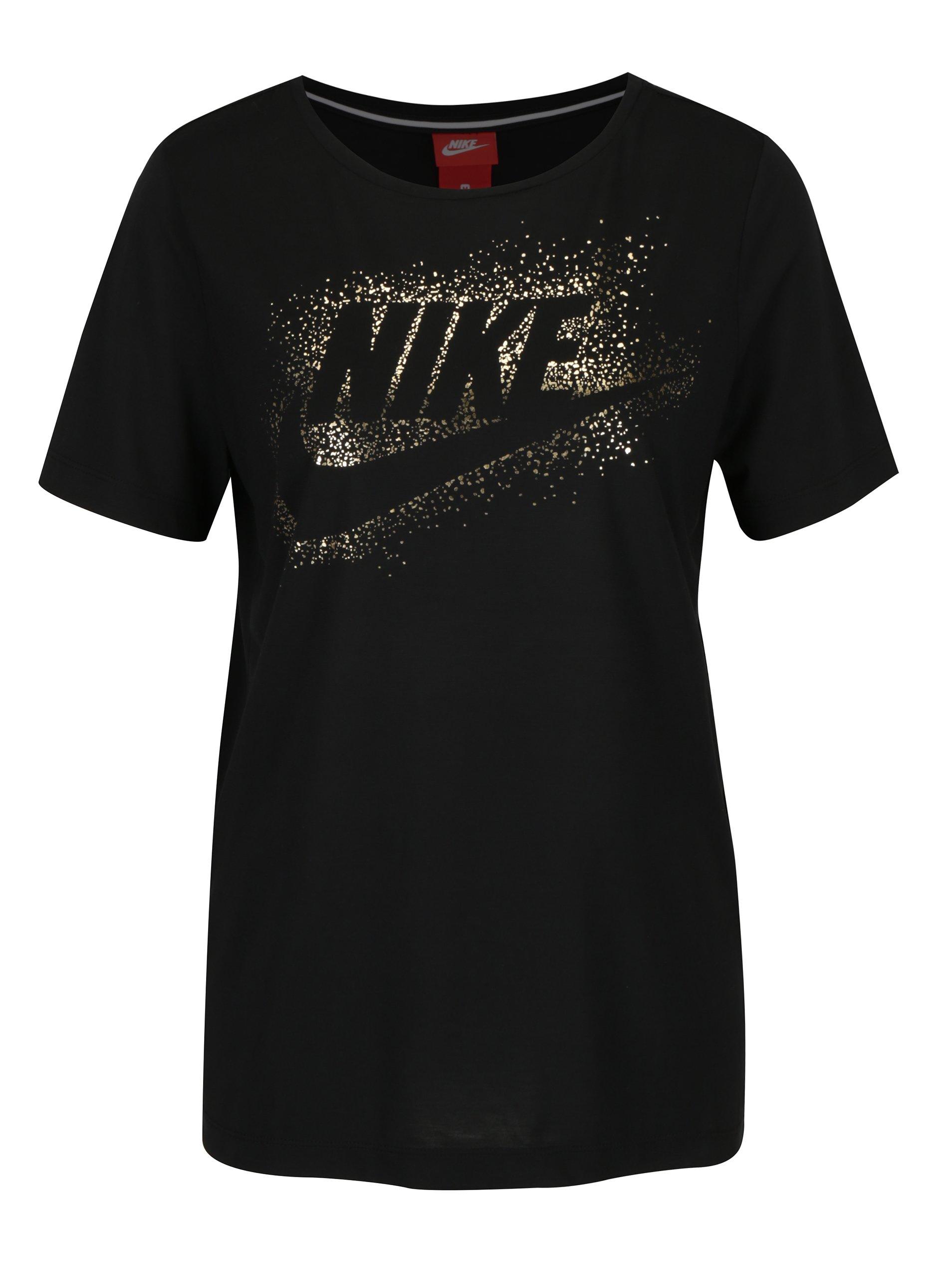 Černé dámské tričko s potiskem Nike Metallic