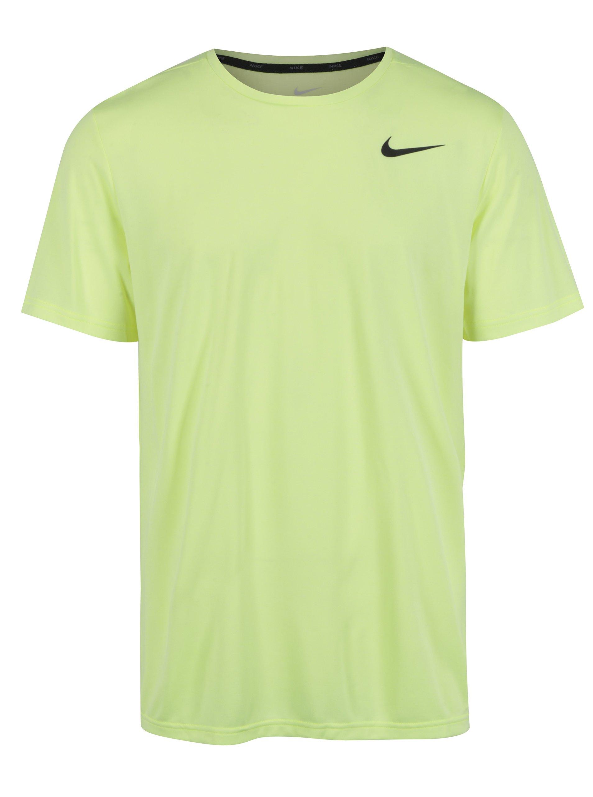 Neonově zelené pánské funkční tričko s krátkým rukávem Nike