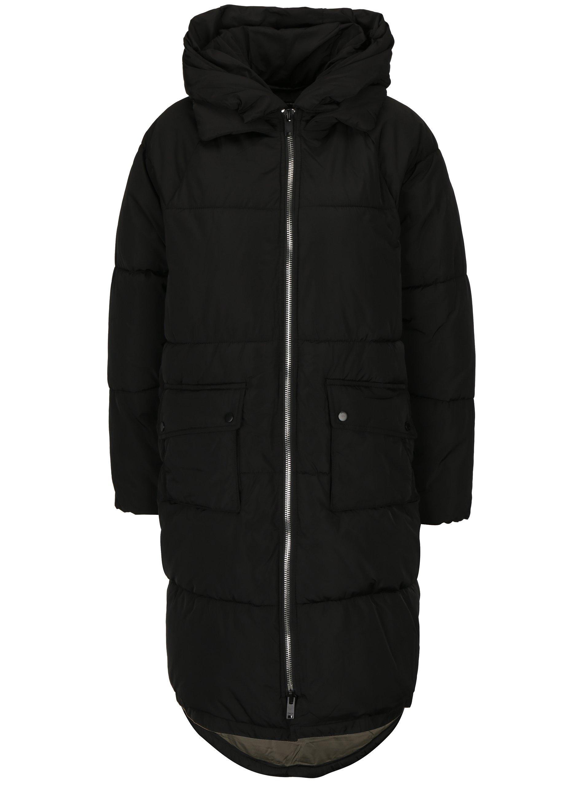 Černý prošívaný kabát s kapucí ONLY Gina