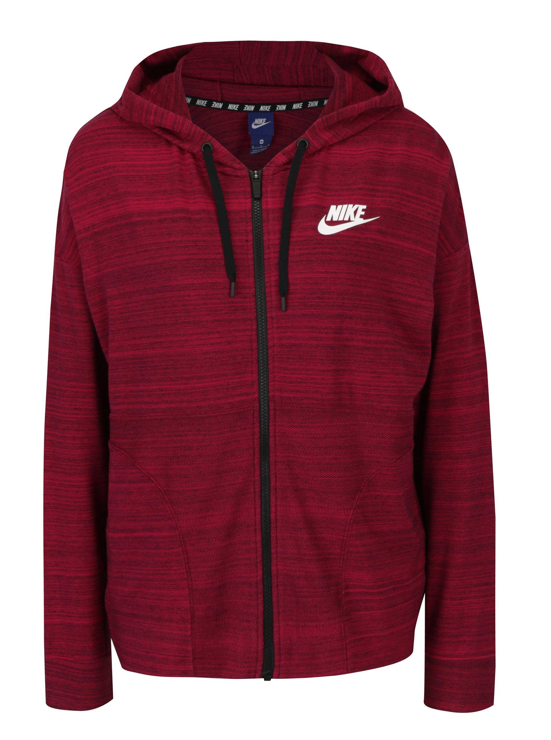 Tmavě růžová dámská žíhaná mikina s kapucí Nike Advance 15