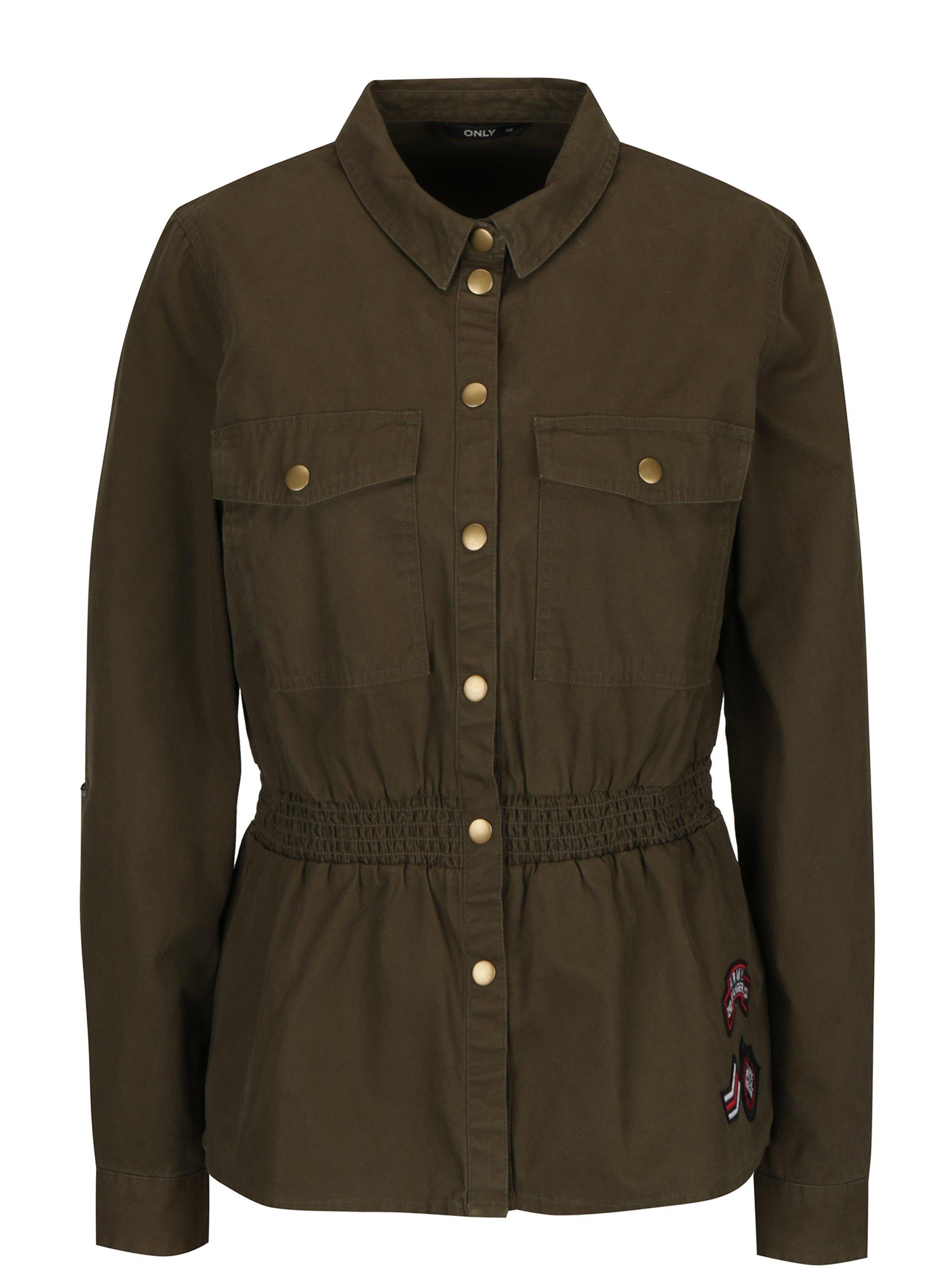 Khaki džínová lehká bunda s nášivkami ONLY Armor