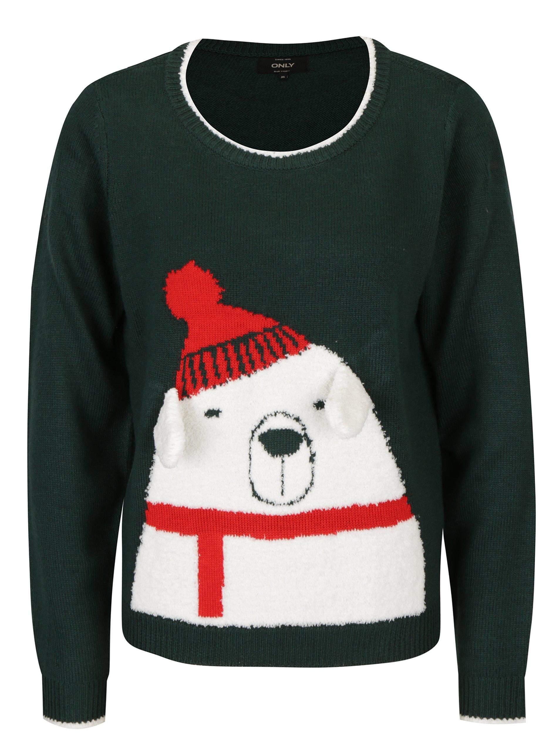 Tmavě zelený svetr s motivem medvěda ONLY Polar Bear