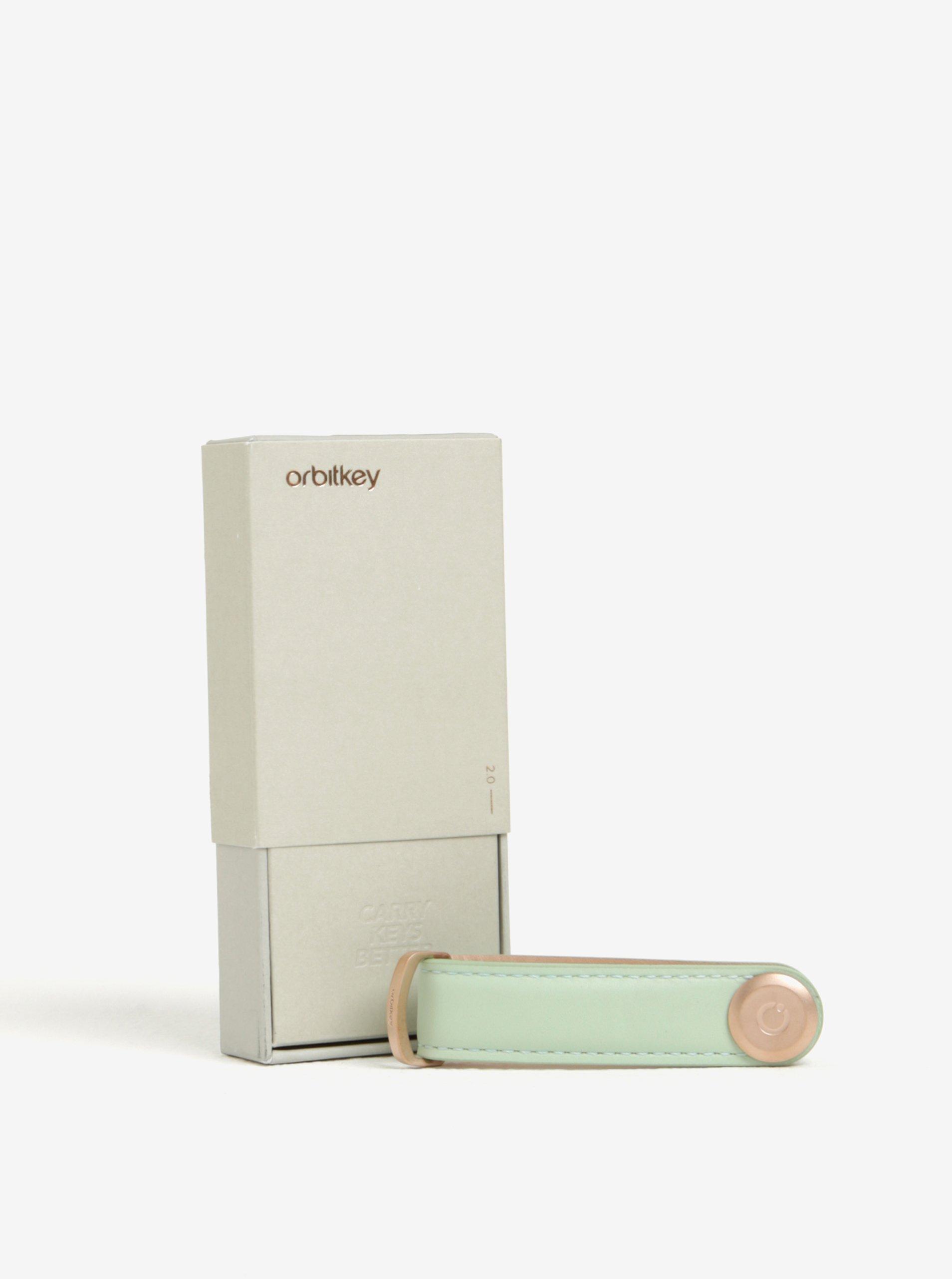 Světle zelená dámská kožená klíčenka Orbitkey