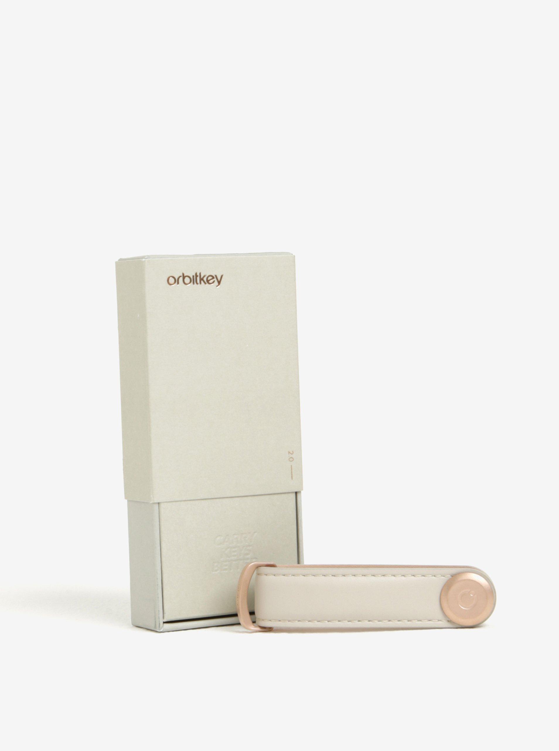 Světle šedá dámská kožená klíčenka Orbitkey