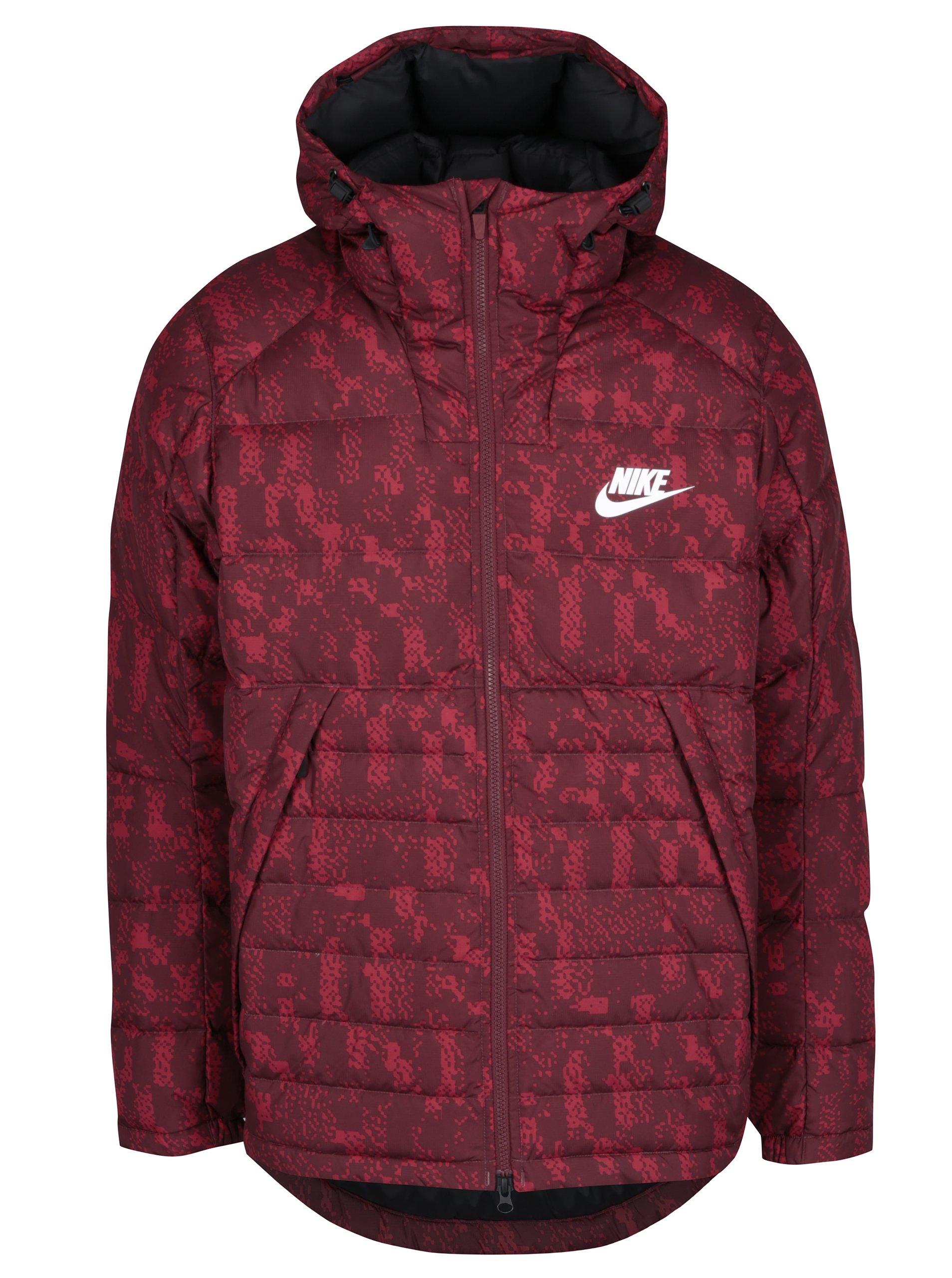 Červená pánská vzorovaná zimní péřová prošívaná bunda Nike