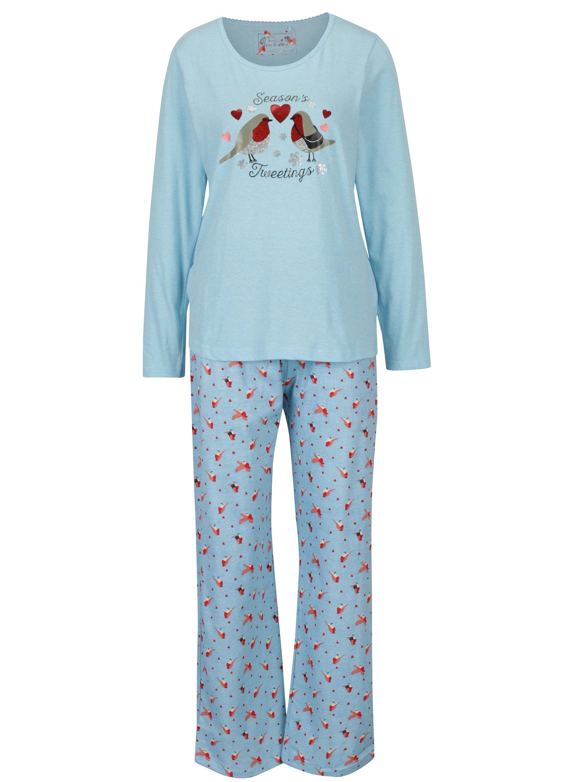 Světle modré dámské pyžamo s motivem ptáků M&Co