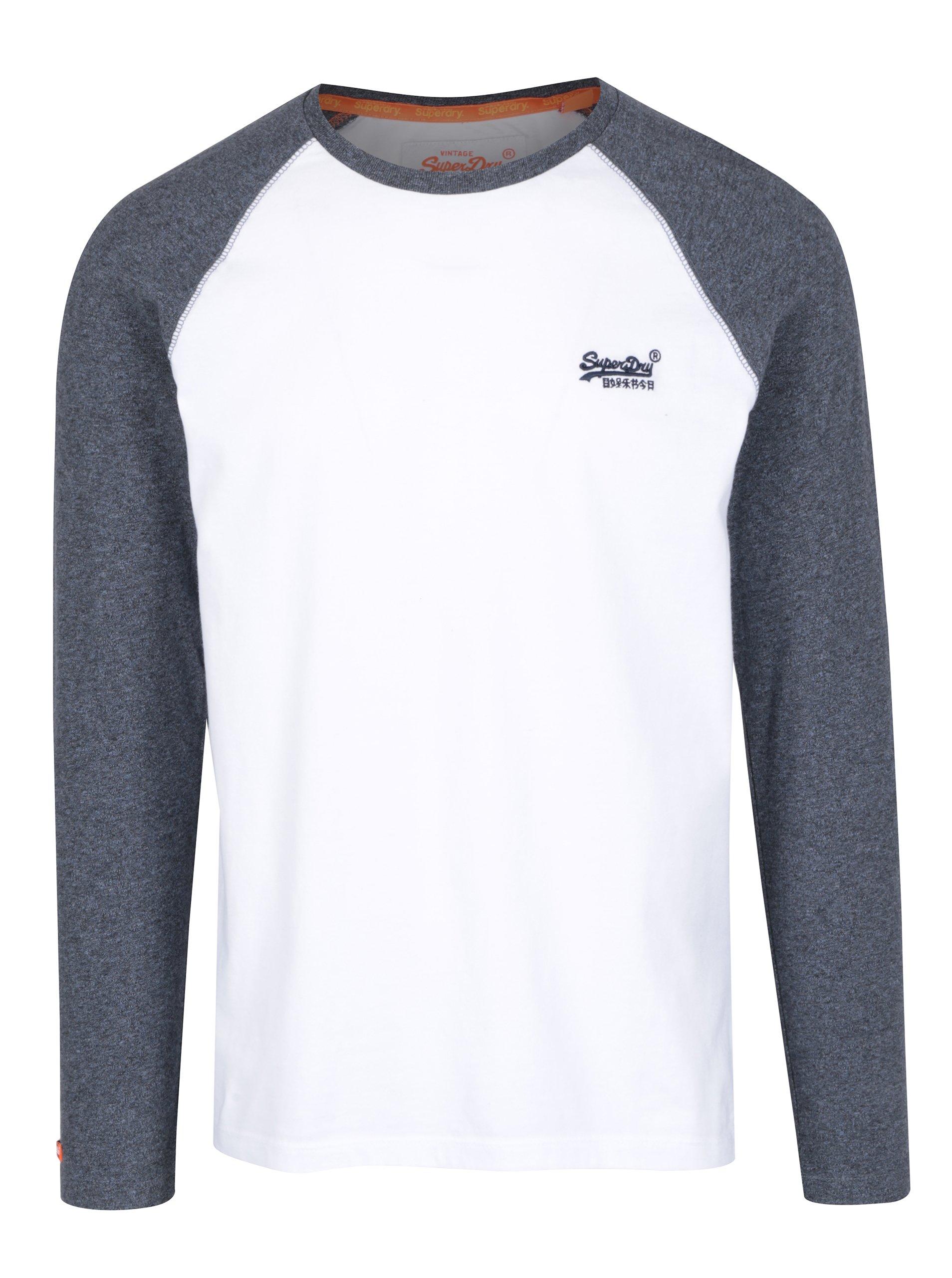 Modro-bílé pánské tričko s dlouhým rukávem Superdry Orange