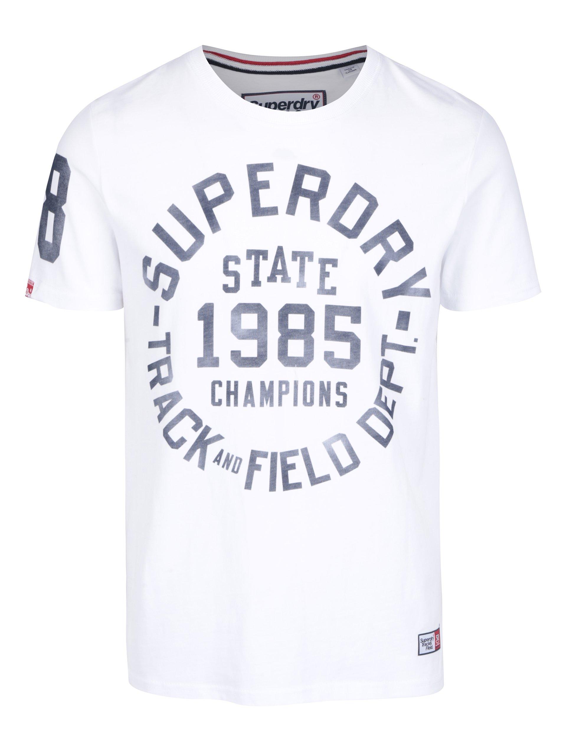 Bílé pánské tričko s potiskem Superdry Trackster