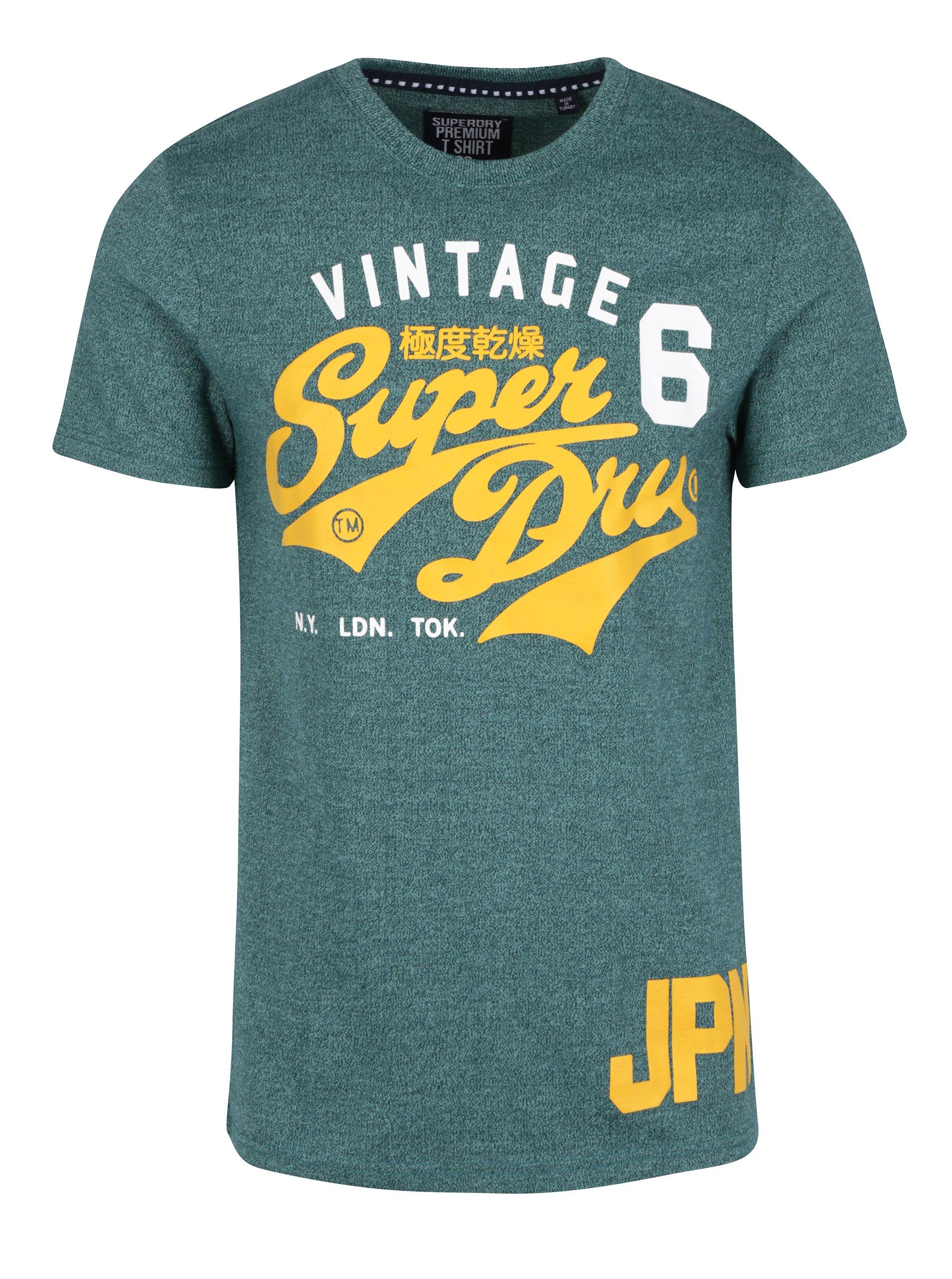 Zelené pánské tričko s potiskem Superdry Stacker