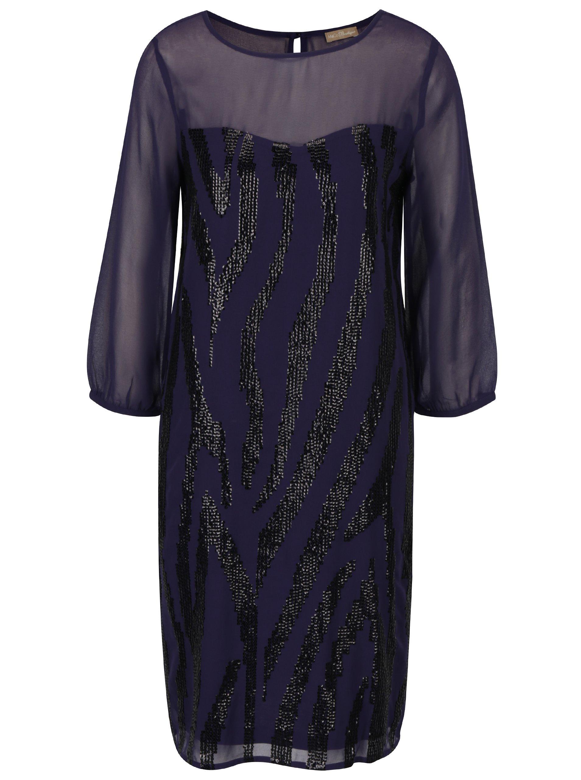Tmavě modré šaty s flitry M&Co