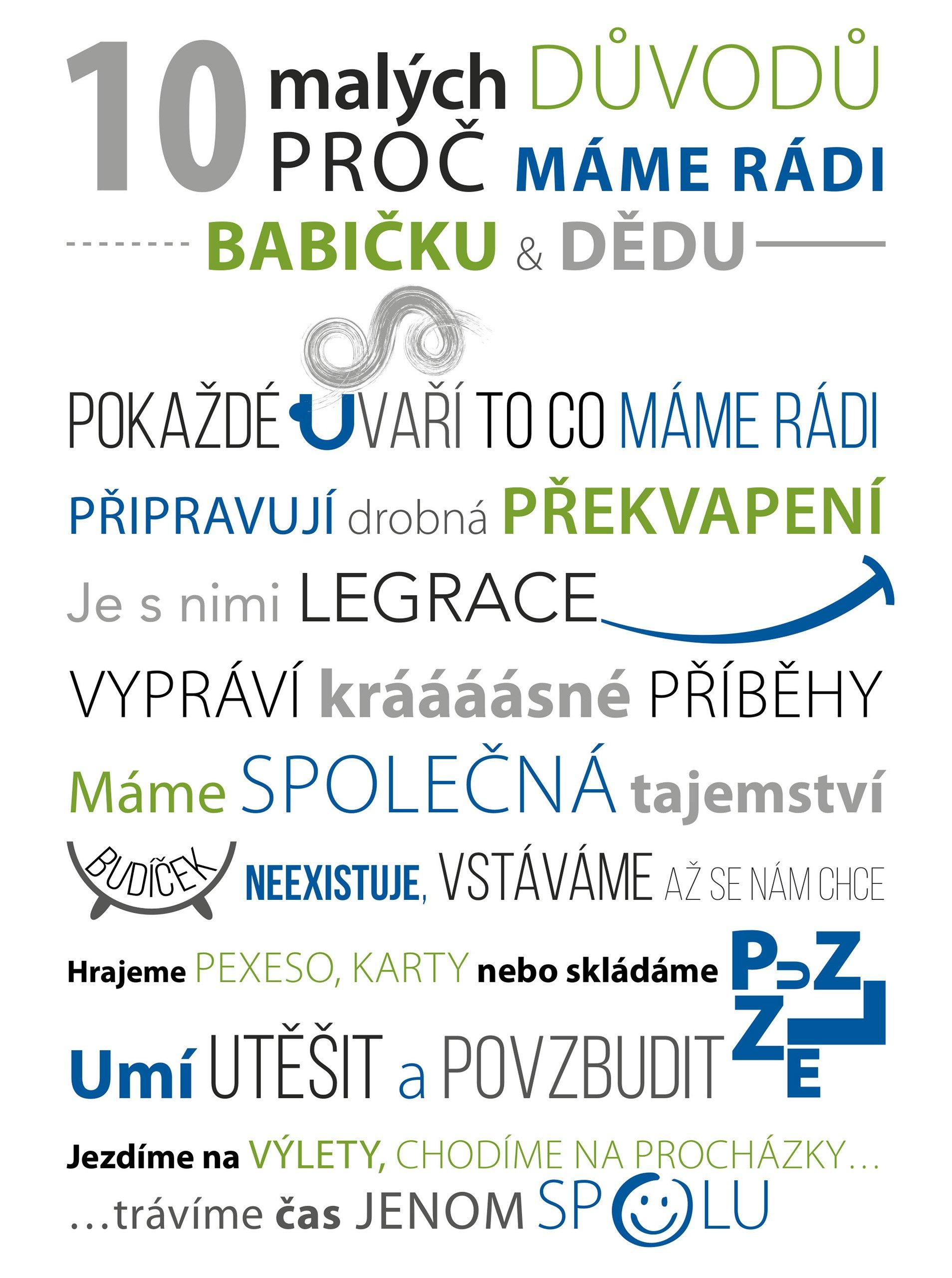 Bílo-modrý plakát HEZKÝ SVĚT Babi děda