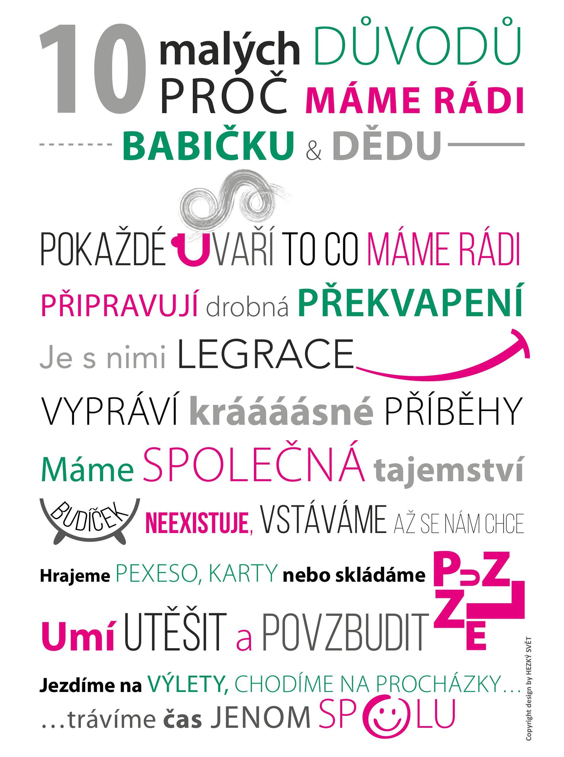 Bílo-růžový plakát HEZKÝ SVĚT Babi děda