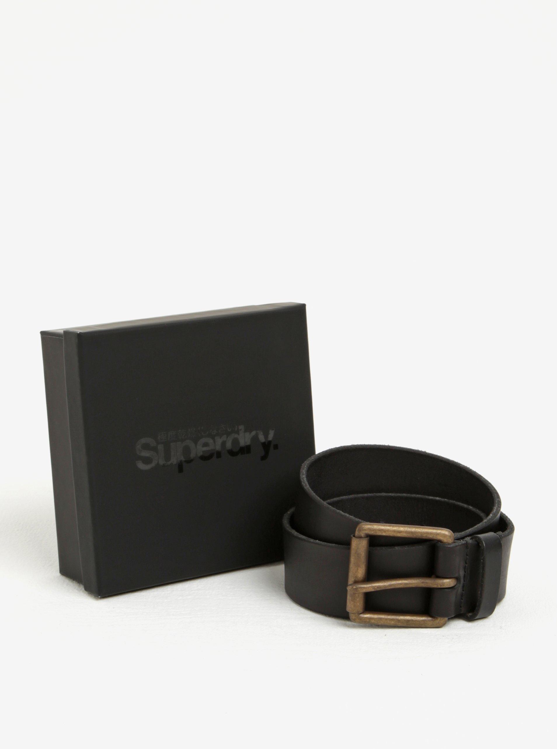 Černý pánský kožený pásek Superdry Western
