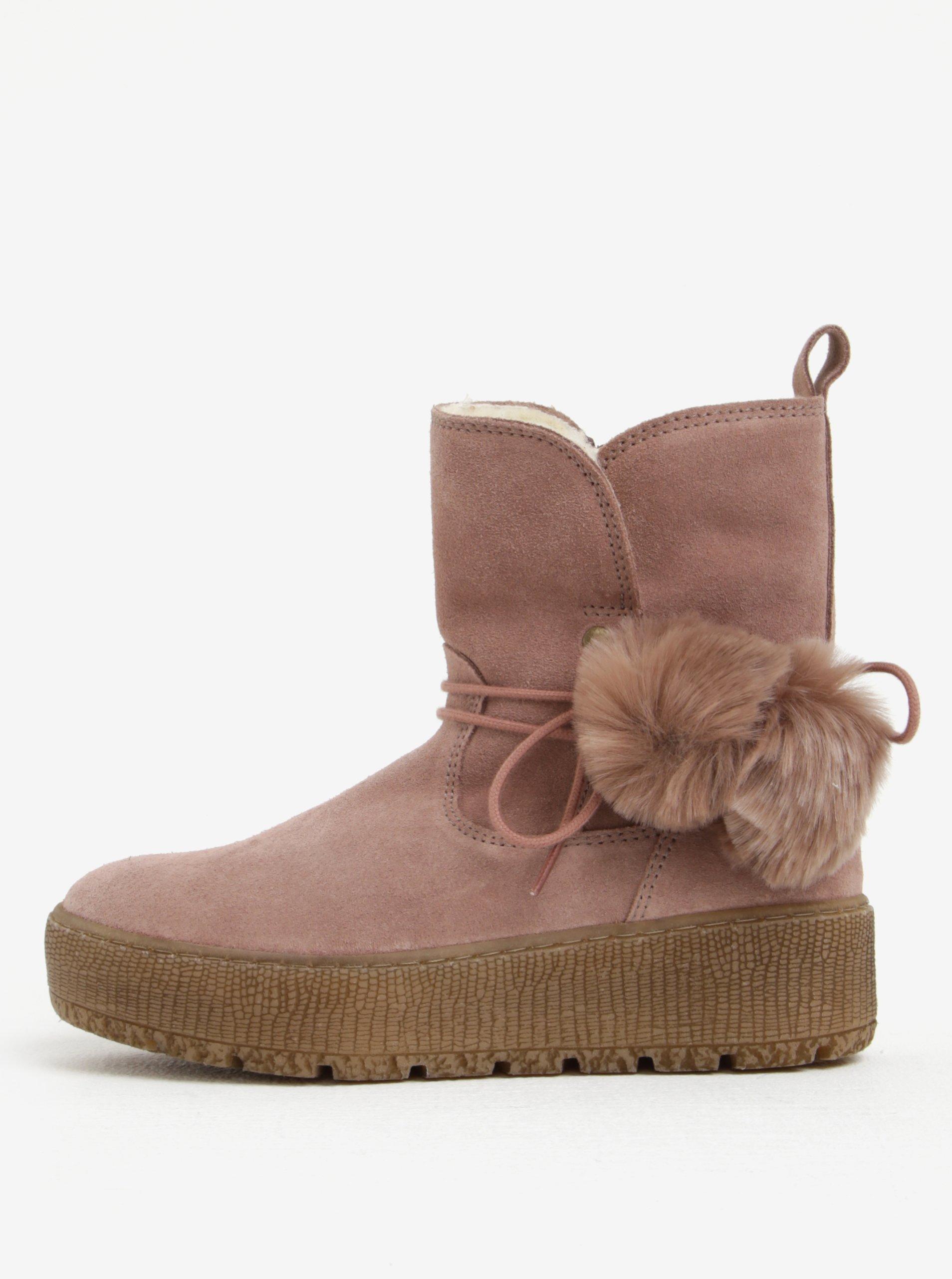 Starorůžové semišové kotníkové boty na platformě Tamaris