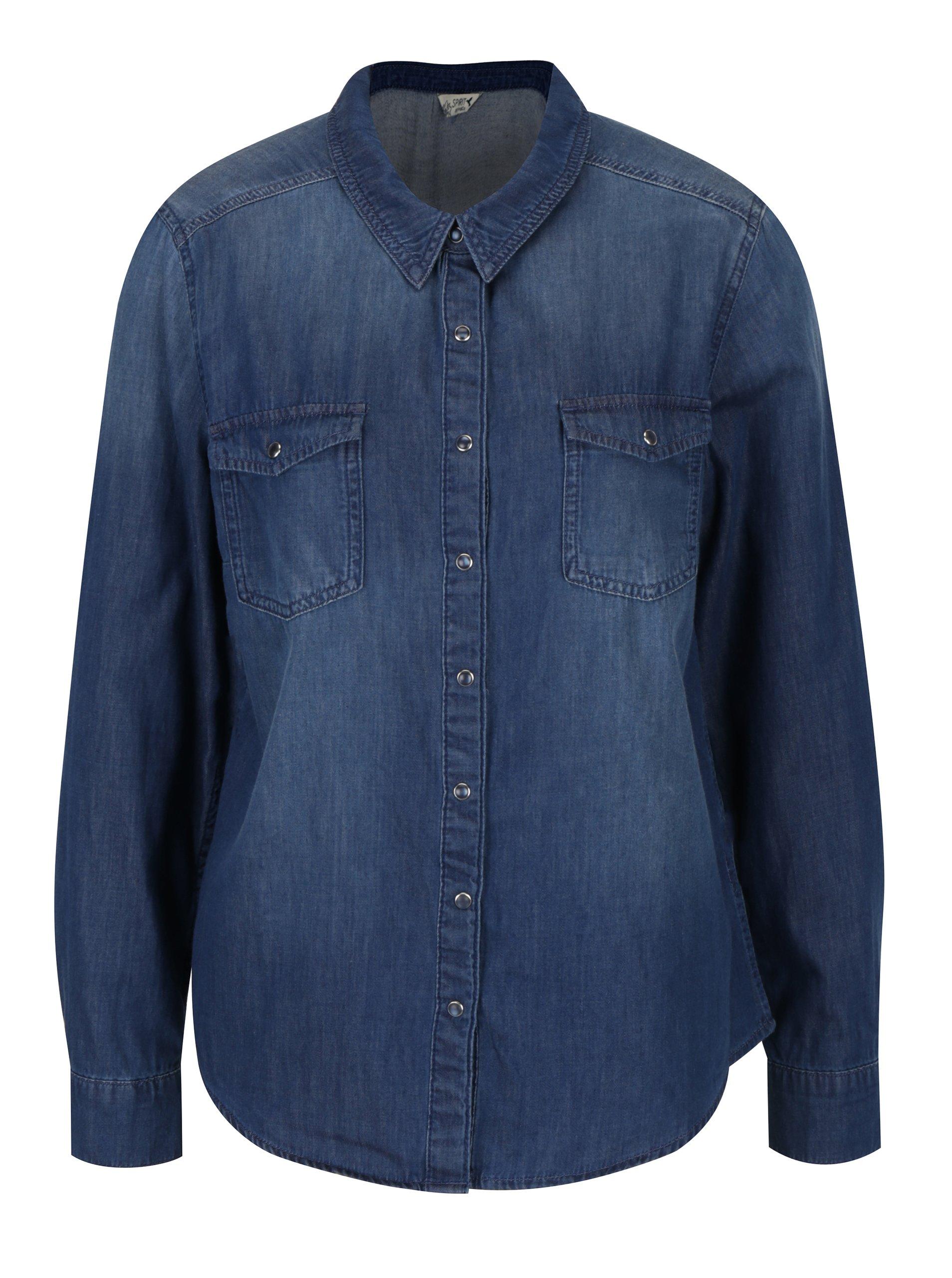 Tmavě modrá dámská džínová košile M&Co