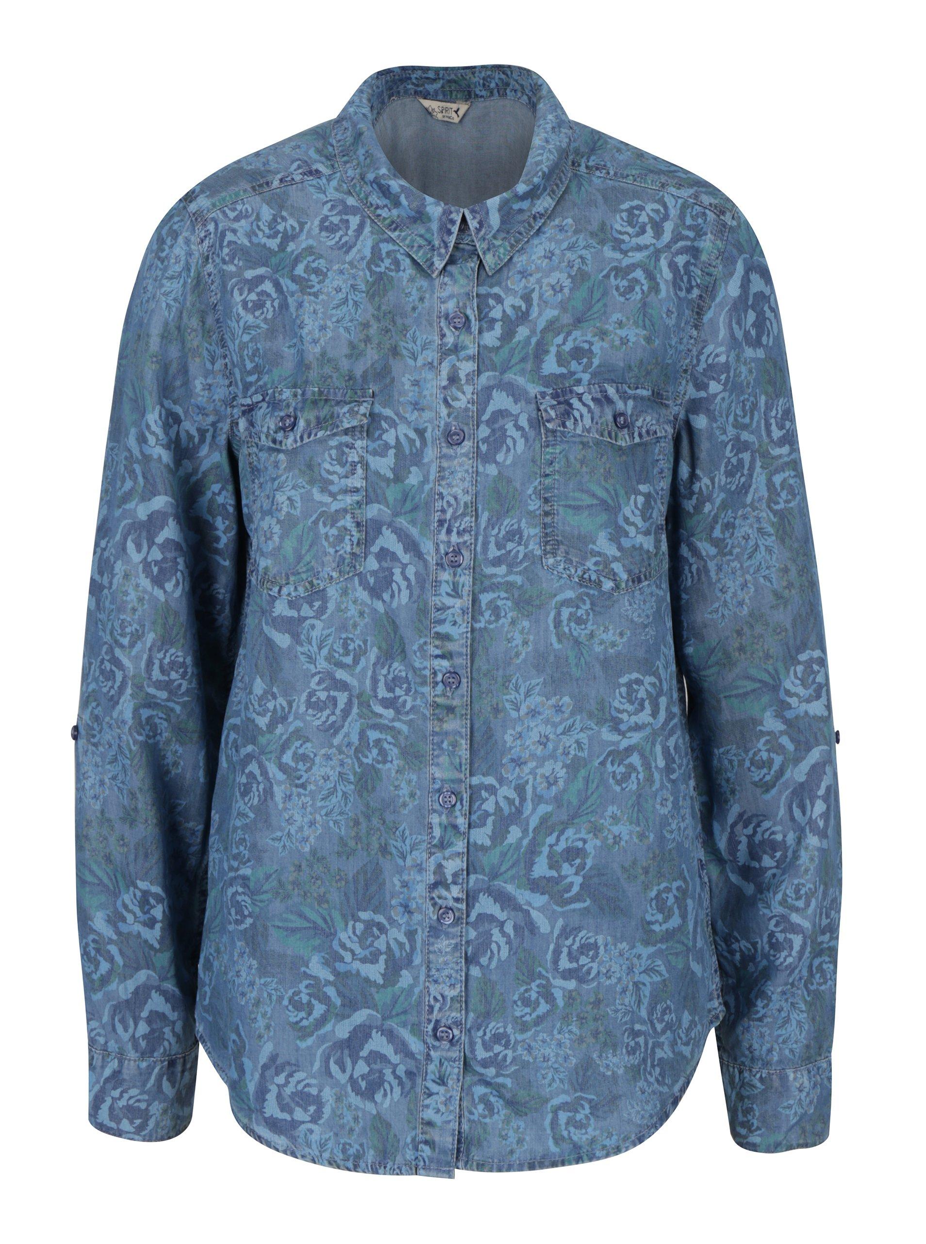 Modrá květovaná košile M&Co