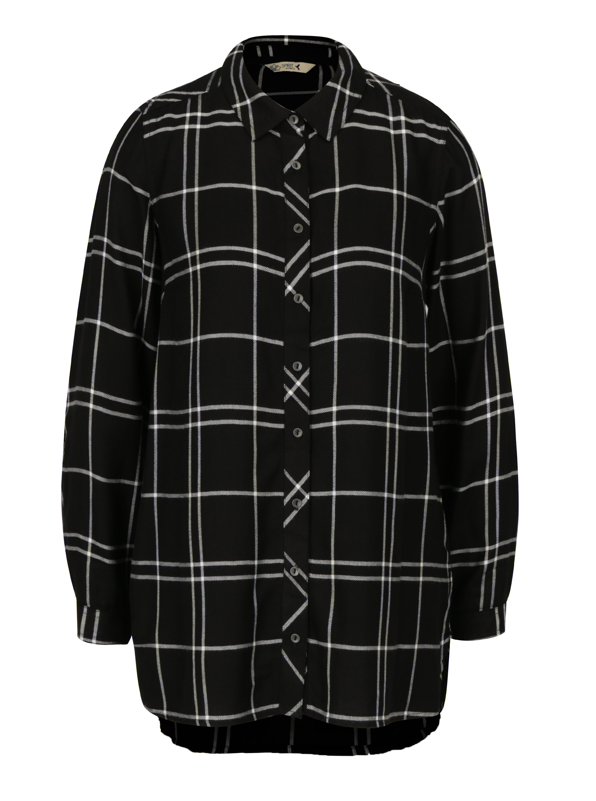 Černá kostkovaná dlouhá košile M&Co