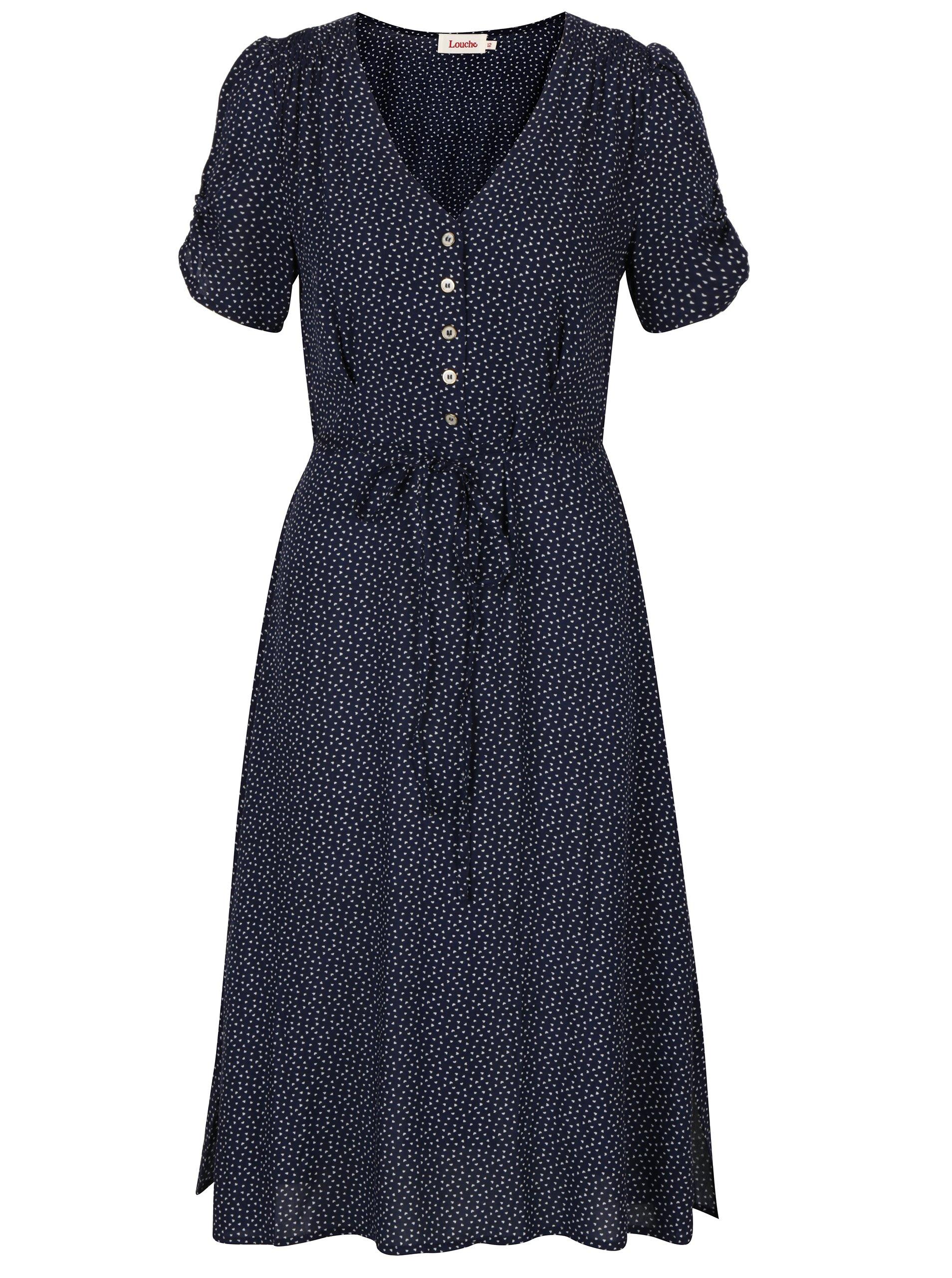Tmavě modré šaty s motivem srdcí Louche London