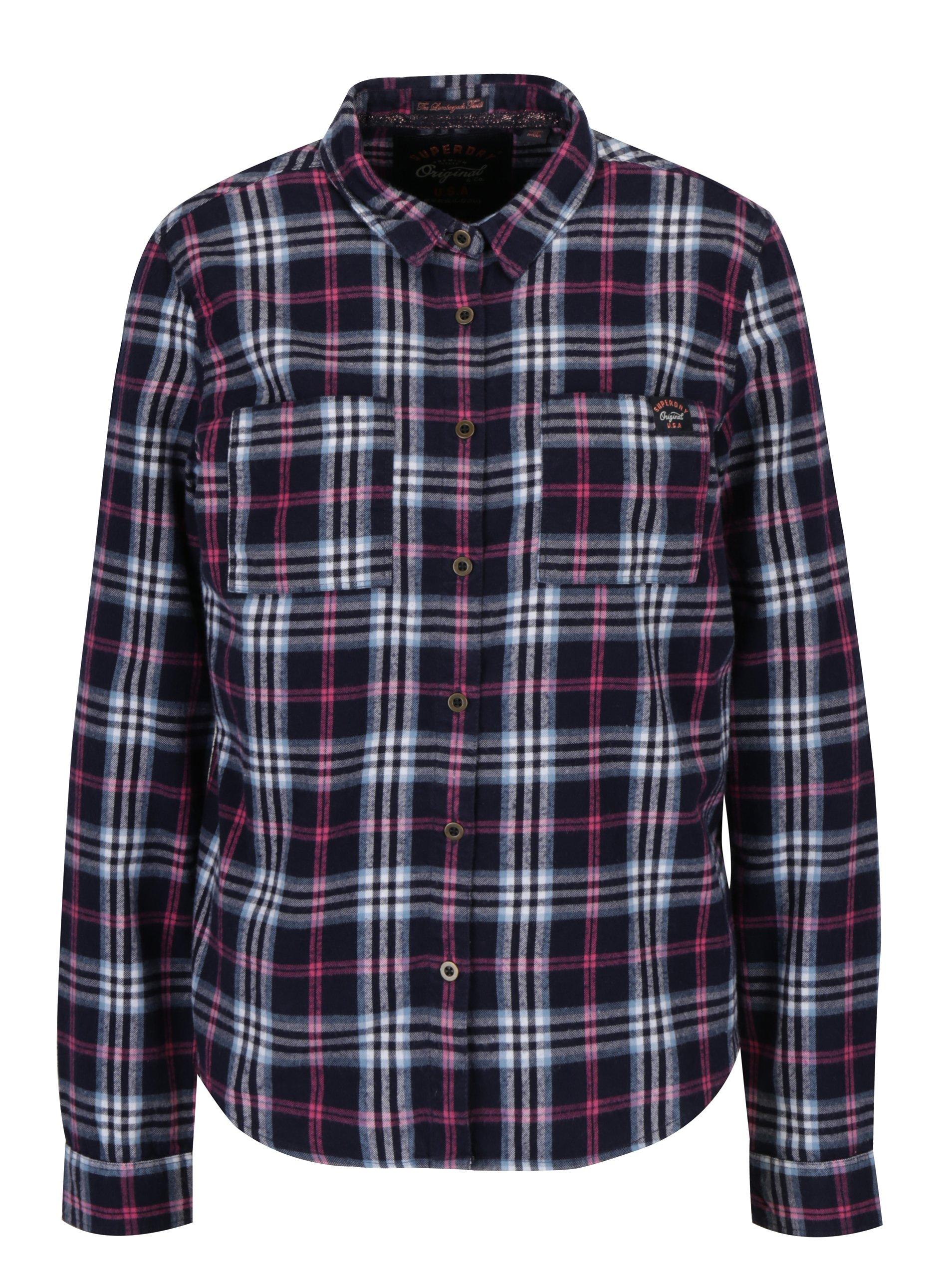 f19df7017b42 Ružovo–modrá dámska kockovaná košeľa Superdry Lumber