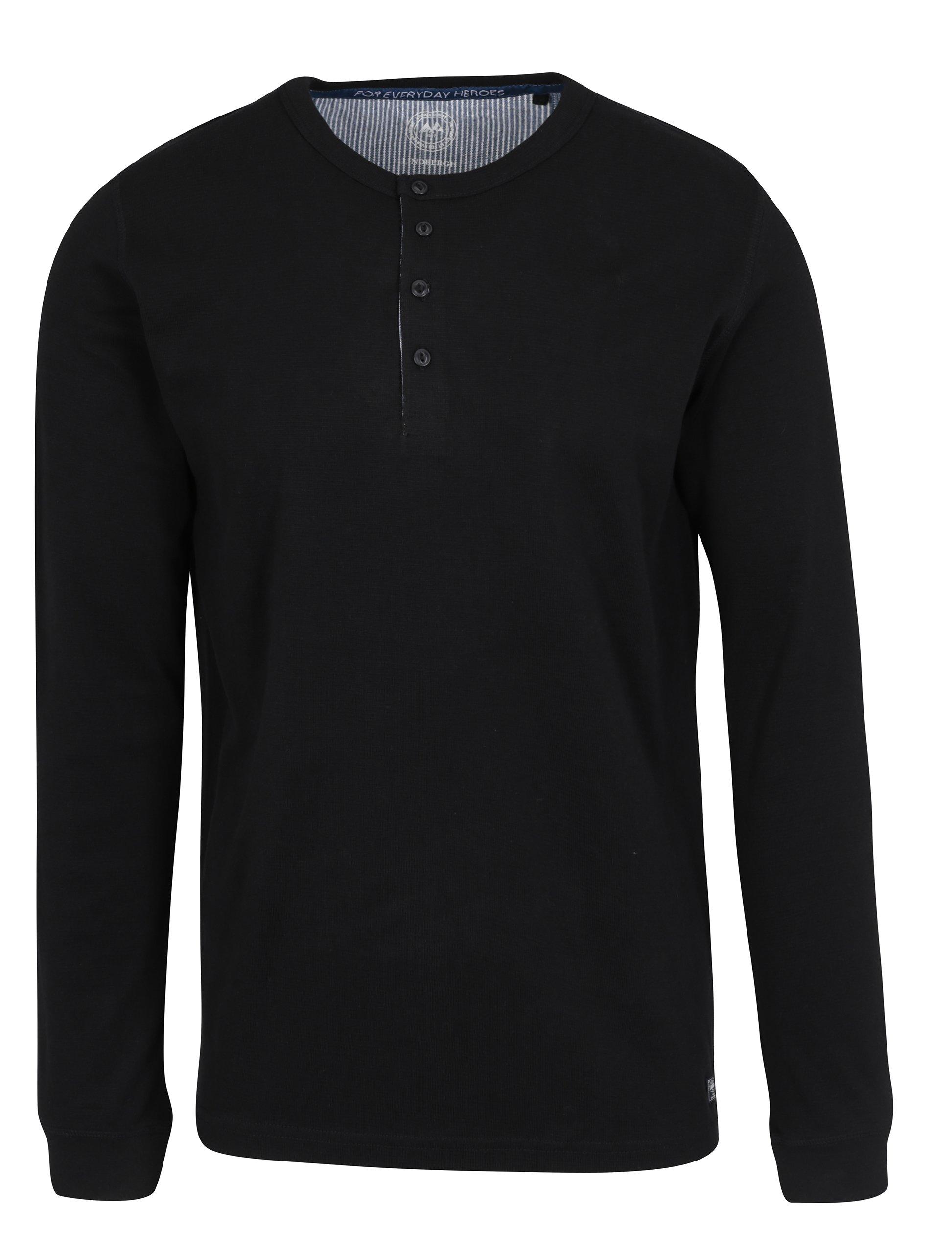 Černé tričko s knoflíky a dlouhými rukávy Lindbergh
