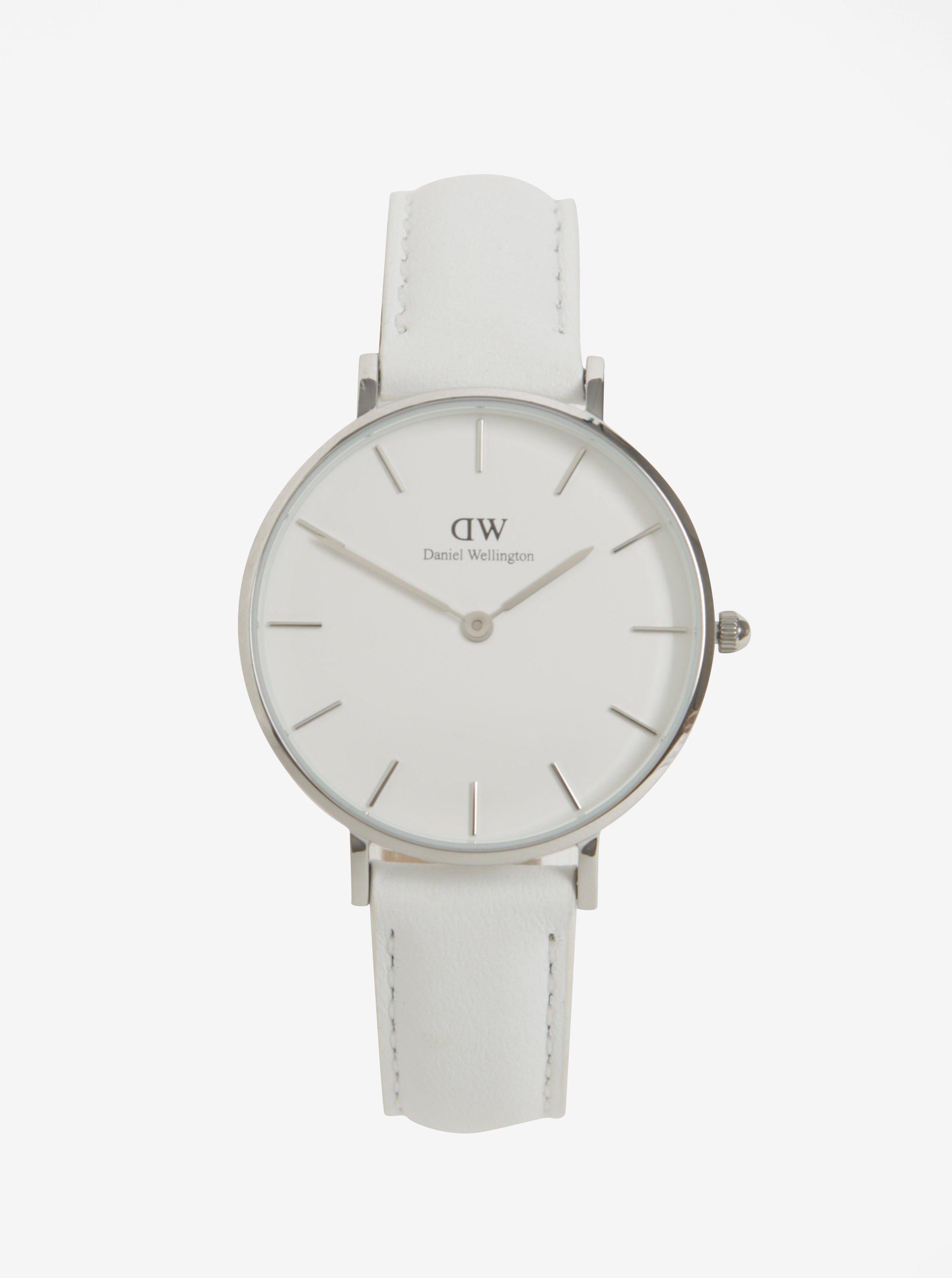 Dámské hodinky ve stříbrné barvě s koženým páskem Daniel Wellington