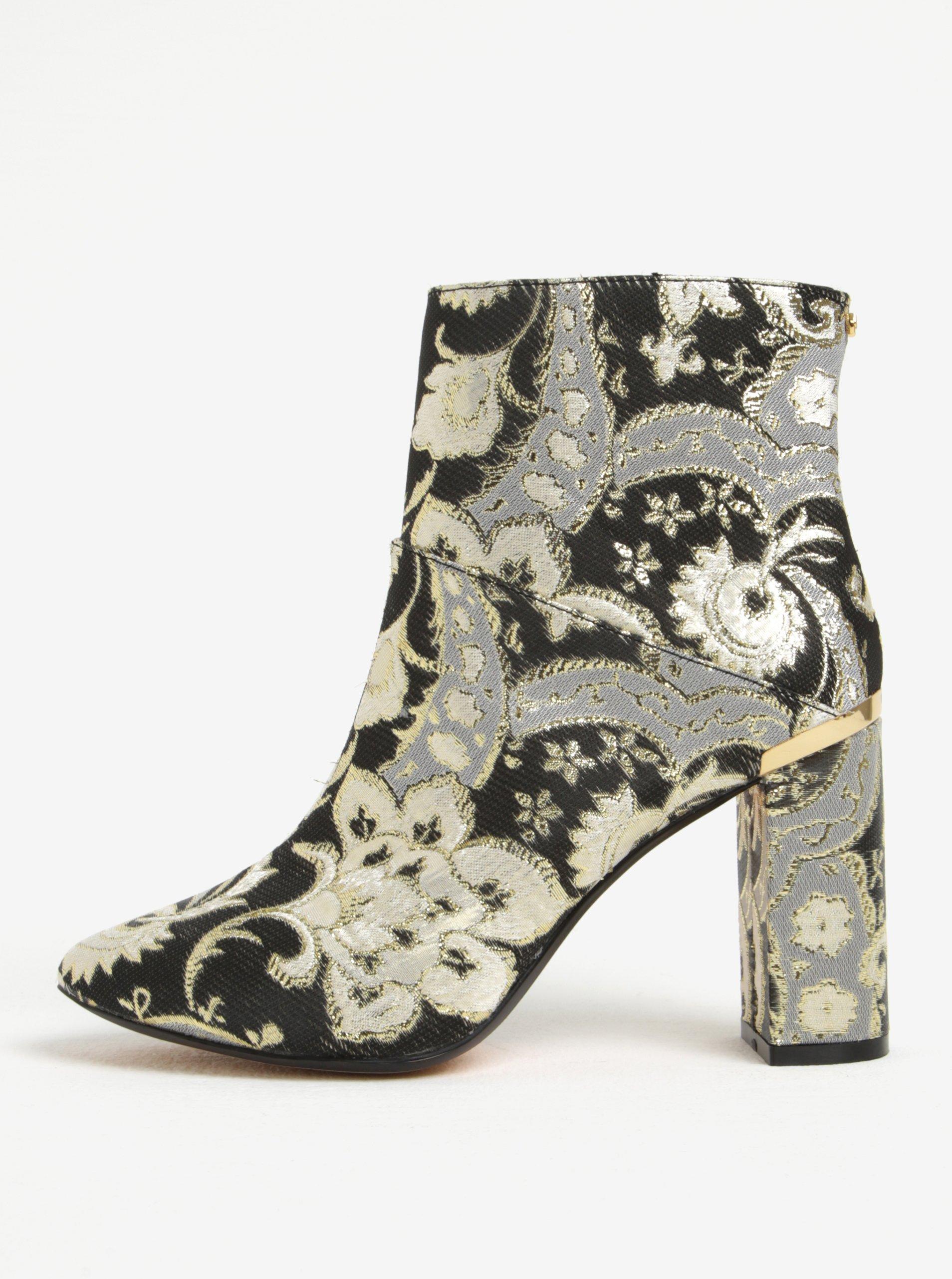 264dbbadf4 Zlato-čierne vzorované členkové topánky Ted Baker Ishbel