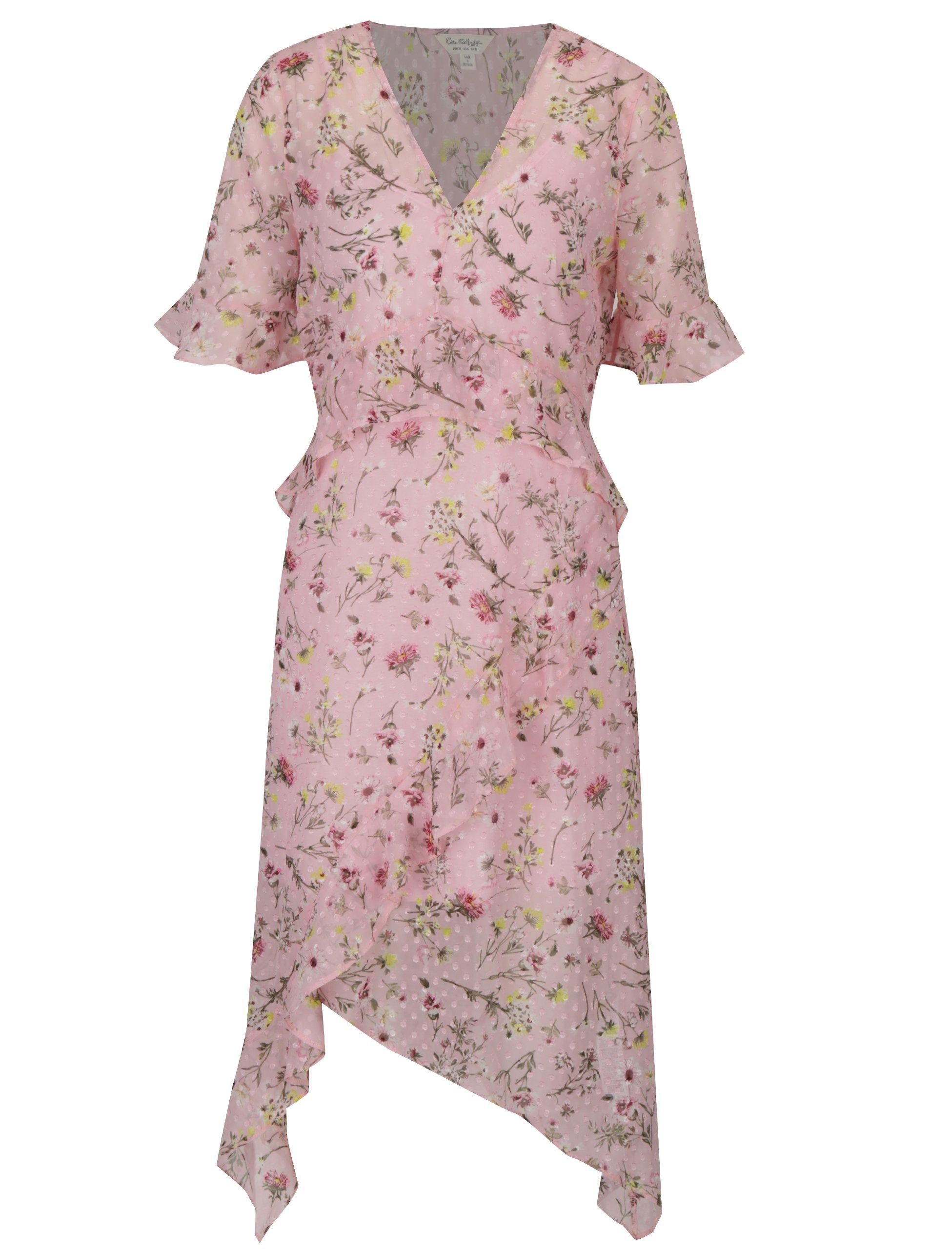 Riflové květované asymetrické šaty s volány Miss Selfridge