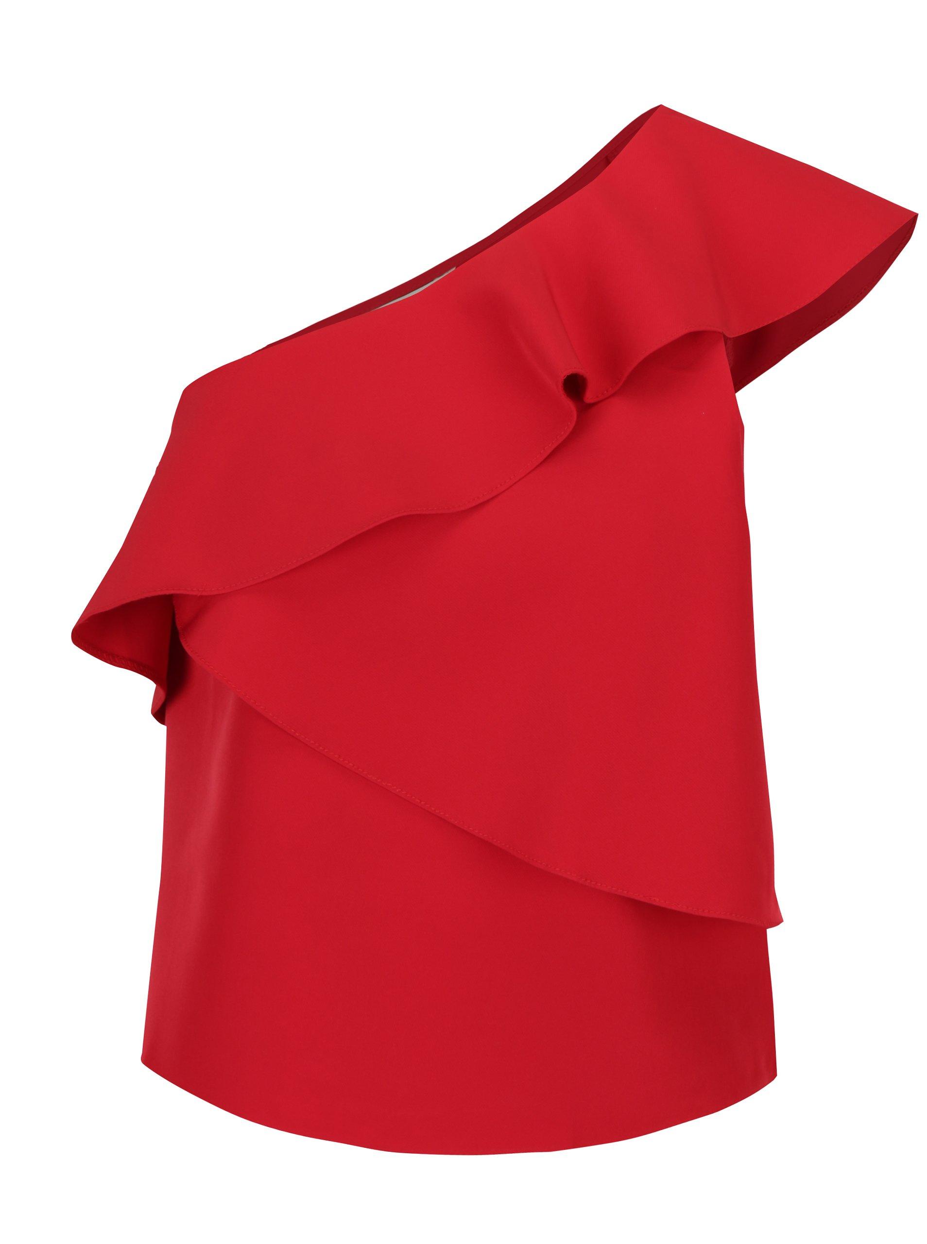 Červená halenka s volány Miss Selfridge