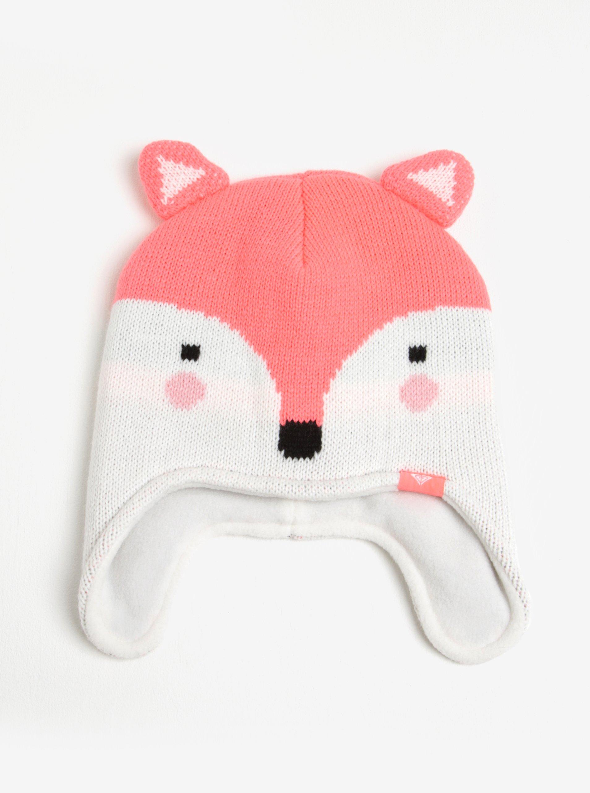 Bílo-neonově růžová holčičí čepice s motivem lišky Roxy Fox