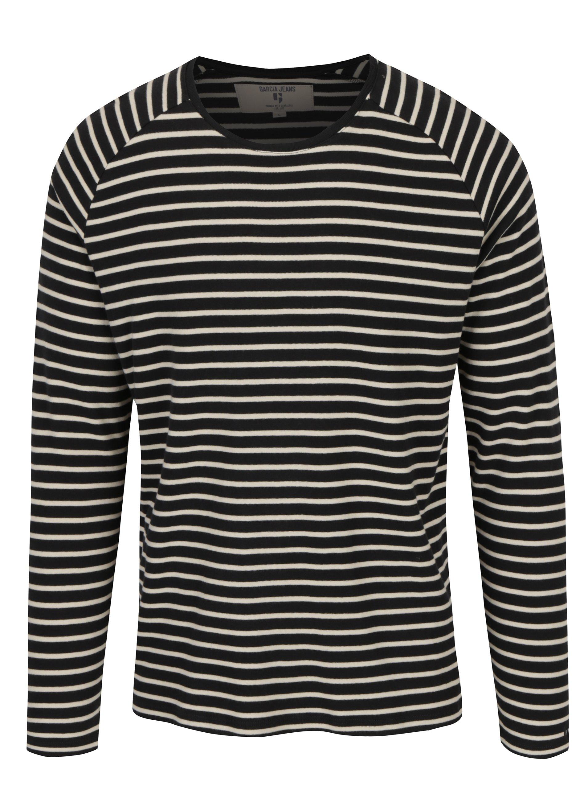 d608c78b6308 Čierne pruhované pánske tričko s dlhým rukávom Garcia Jeans