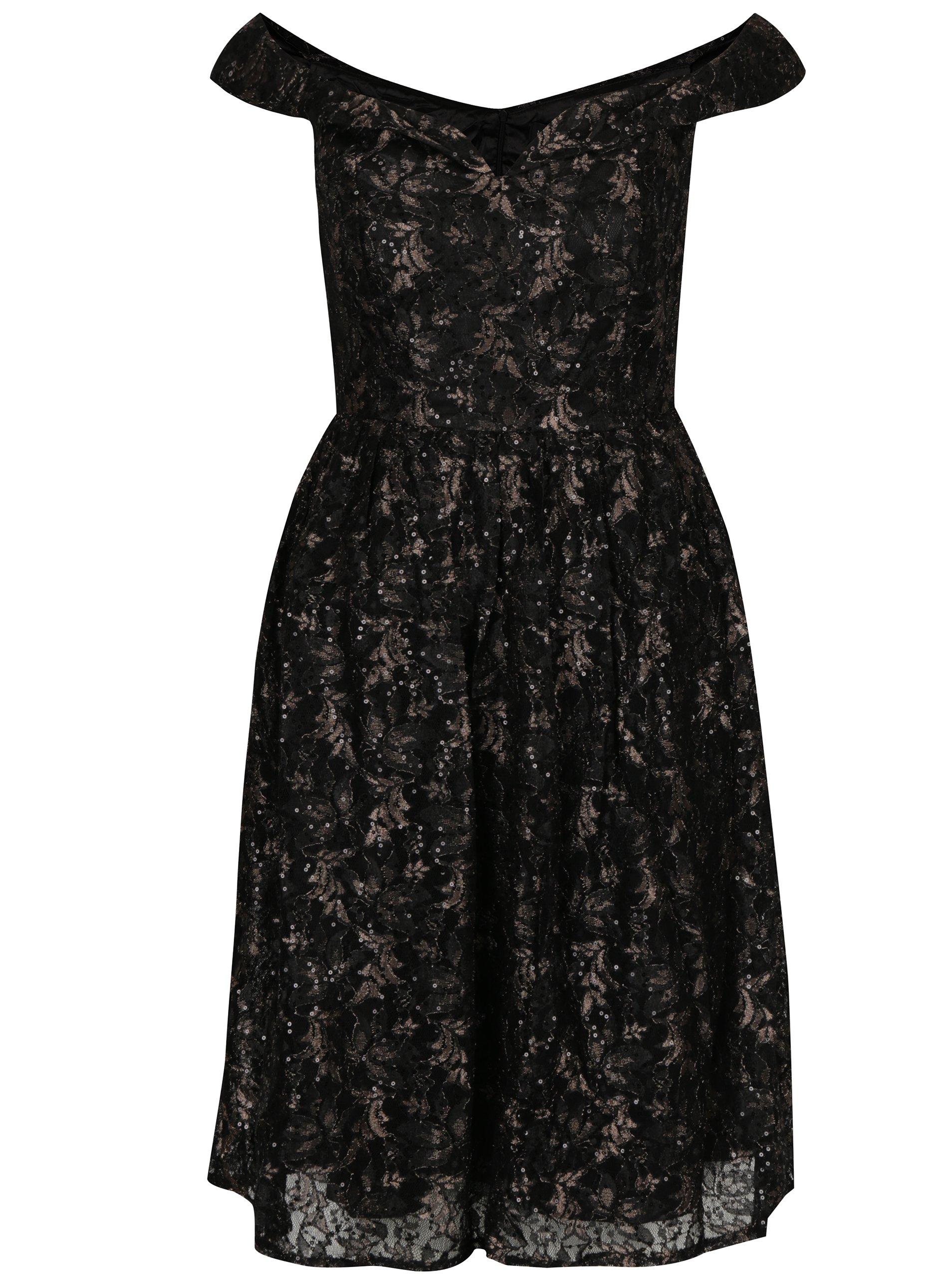fff32d80e456 Čierne čipkované šaty s odhalenými ramenami Mela London
