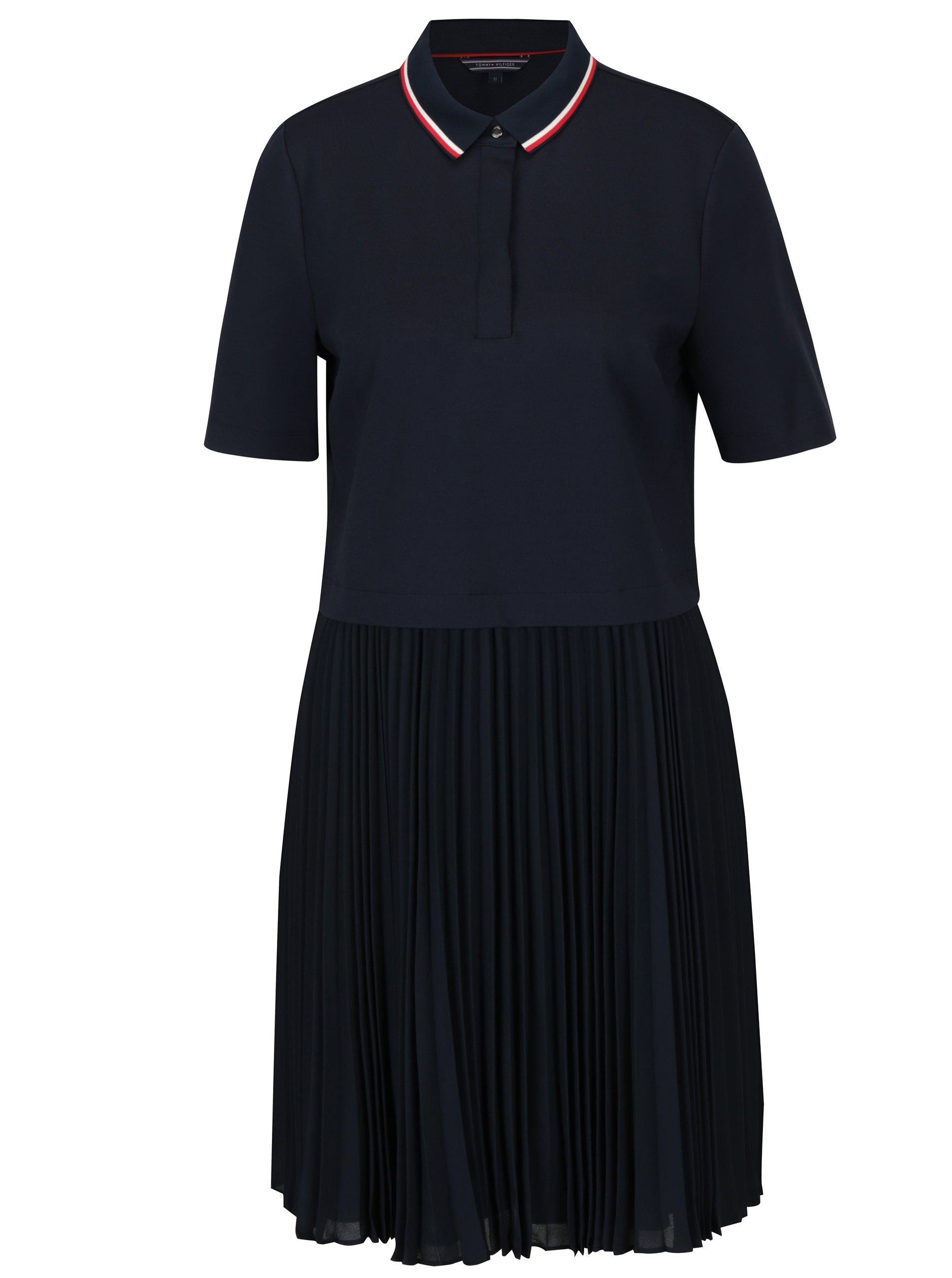 Tmavomodré šaty s golierom a plisovanou sukňou Tommy Hilfiger