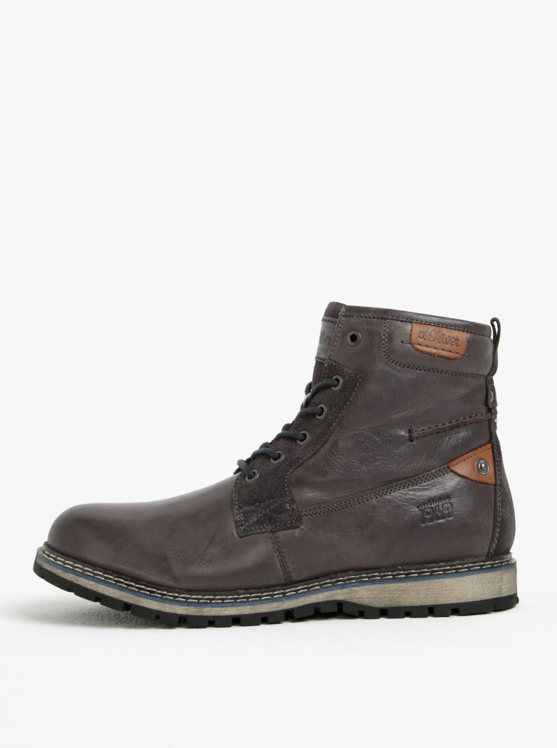 Tmavosivé pánske kožené členkové topánky s.Oliver