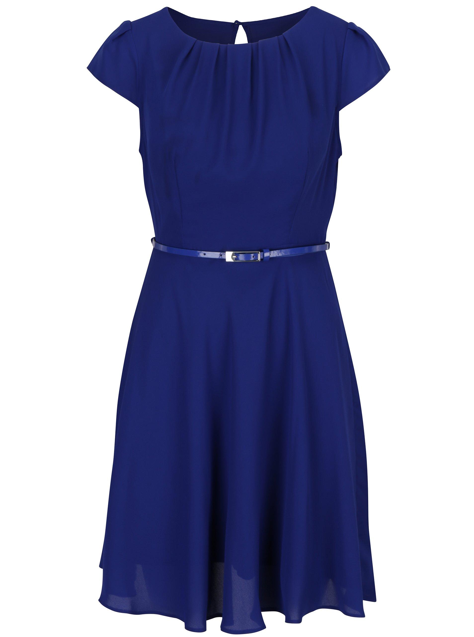 Modré šaty s páskem Billie & Blossom Petite