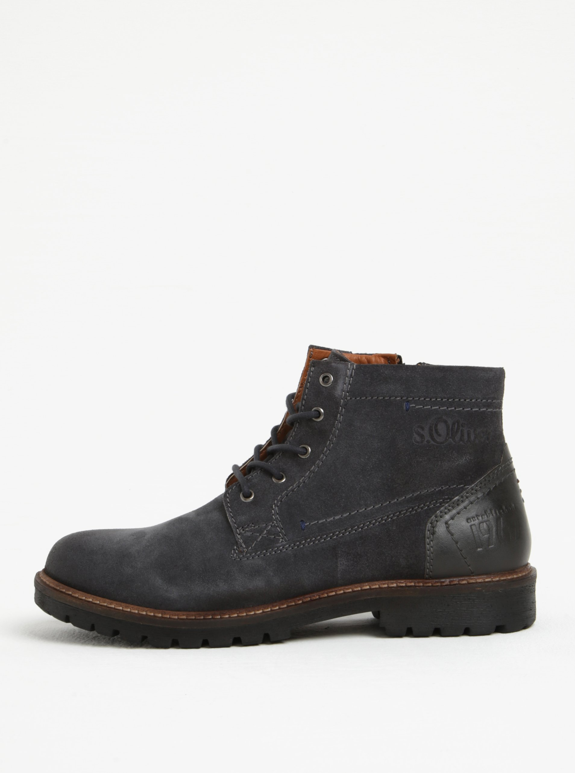 Tmavosivé pánske semišové členkové topánky s.Oliver